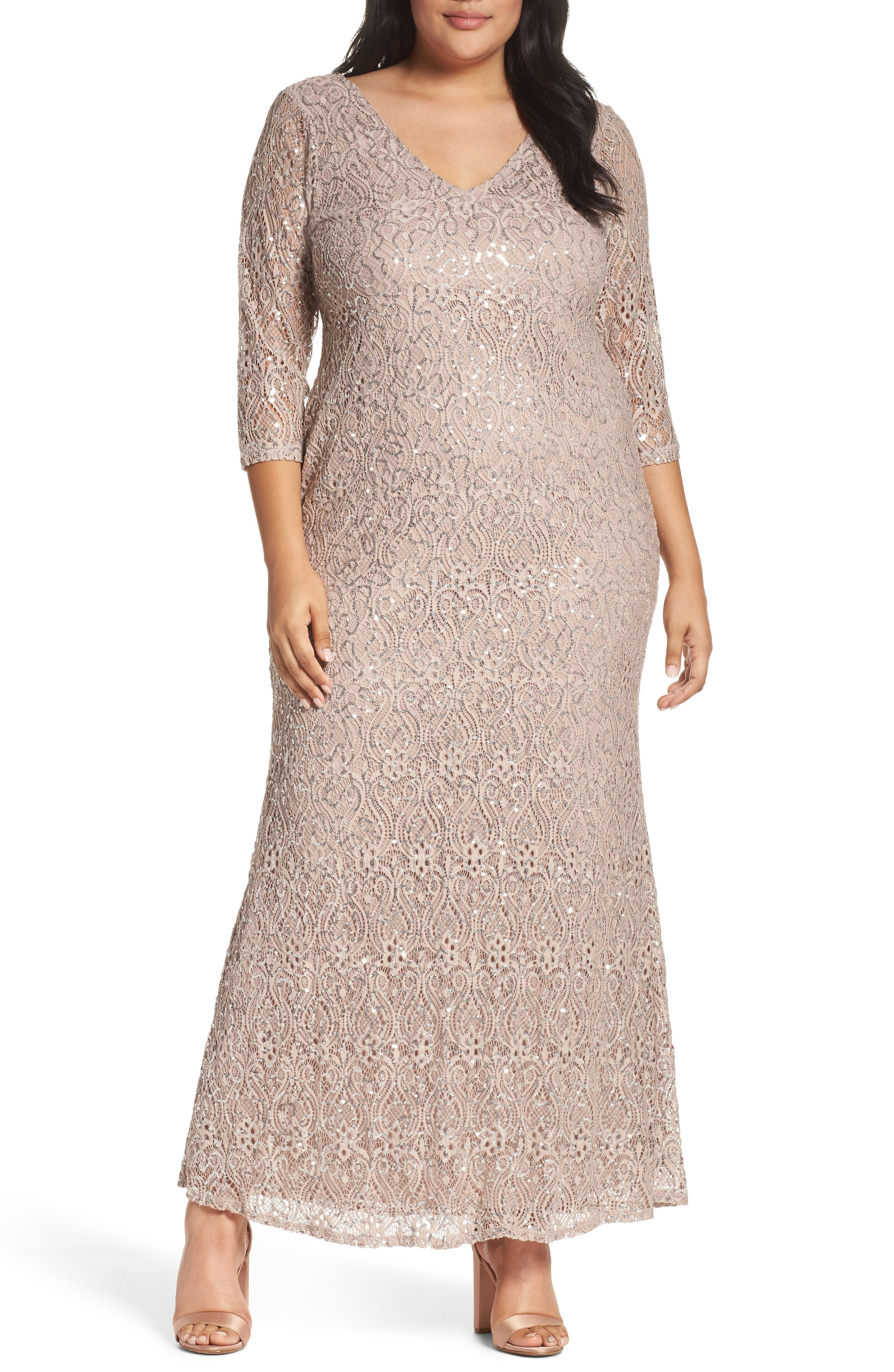 Sequin Lace A-Line Gown,                             Main thumbnail 1, color,                             TAUPE