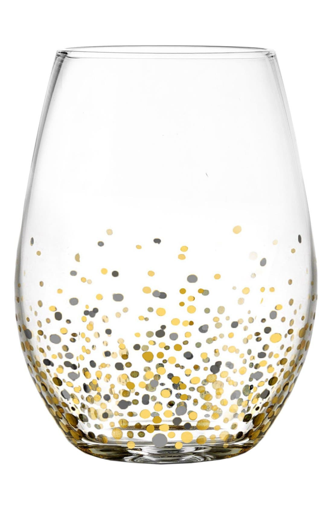 Set of 4 Confetti Stemless Wine Glasses,                             Main thumbnail 1, color,                             BLACK/ GOLD
