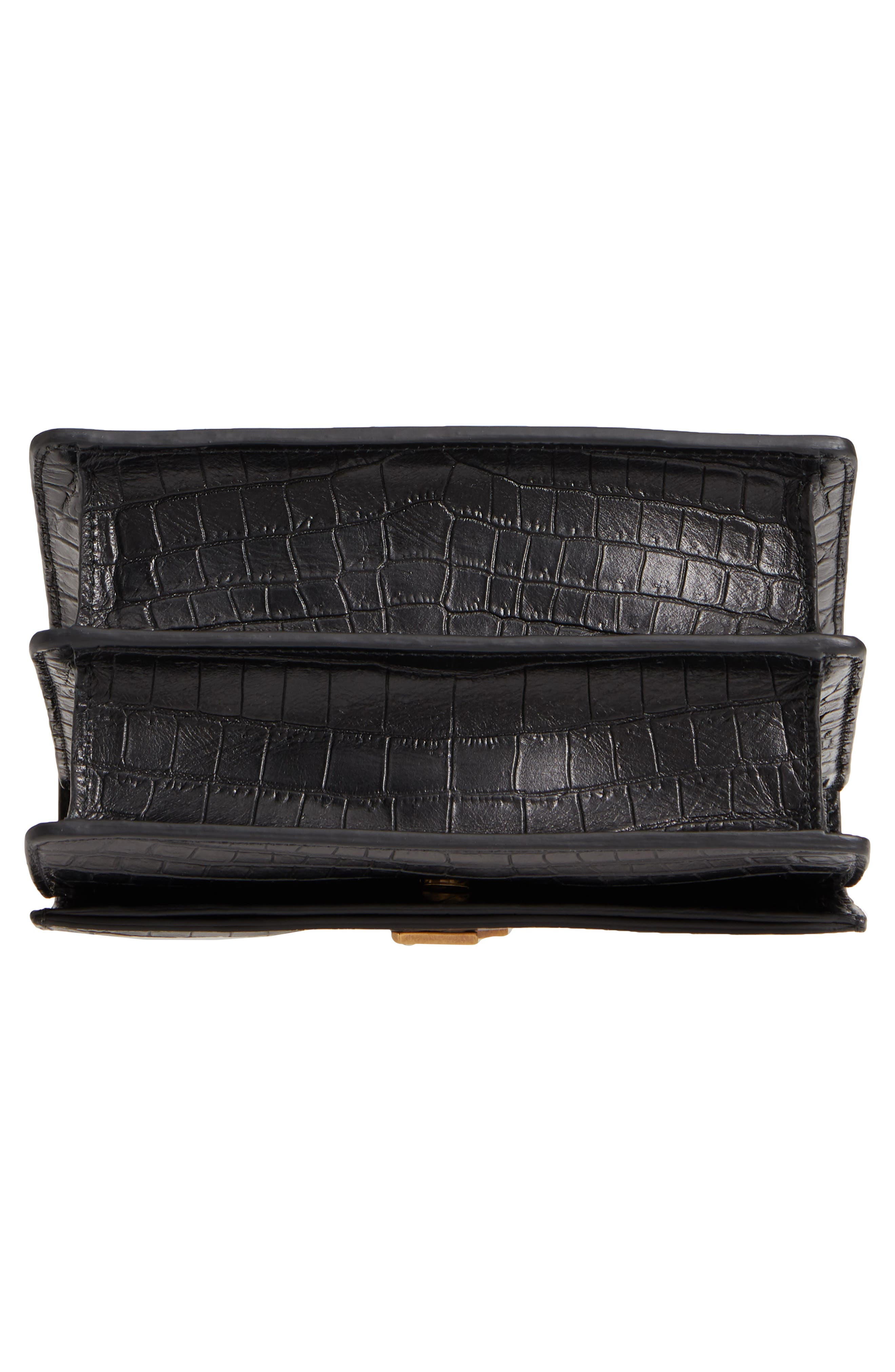 Small Sunset Croc Embossed Leather Shoulder Bag,                             Alternate thumbnail 6, color,                             NERO