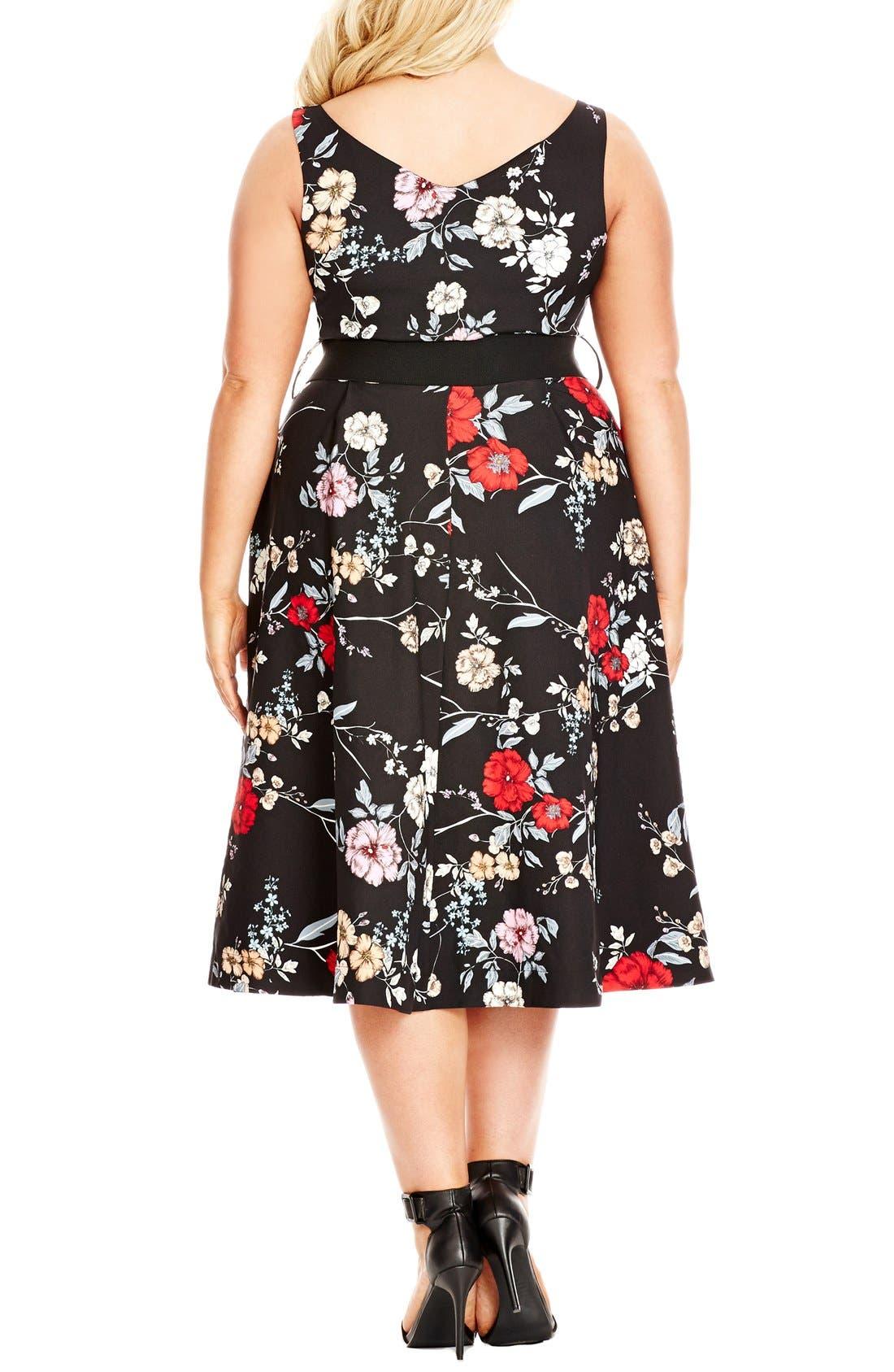 Belted Floral Fit & Flare Dress,                             Alternate thumbnail 2, color,