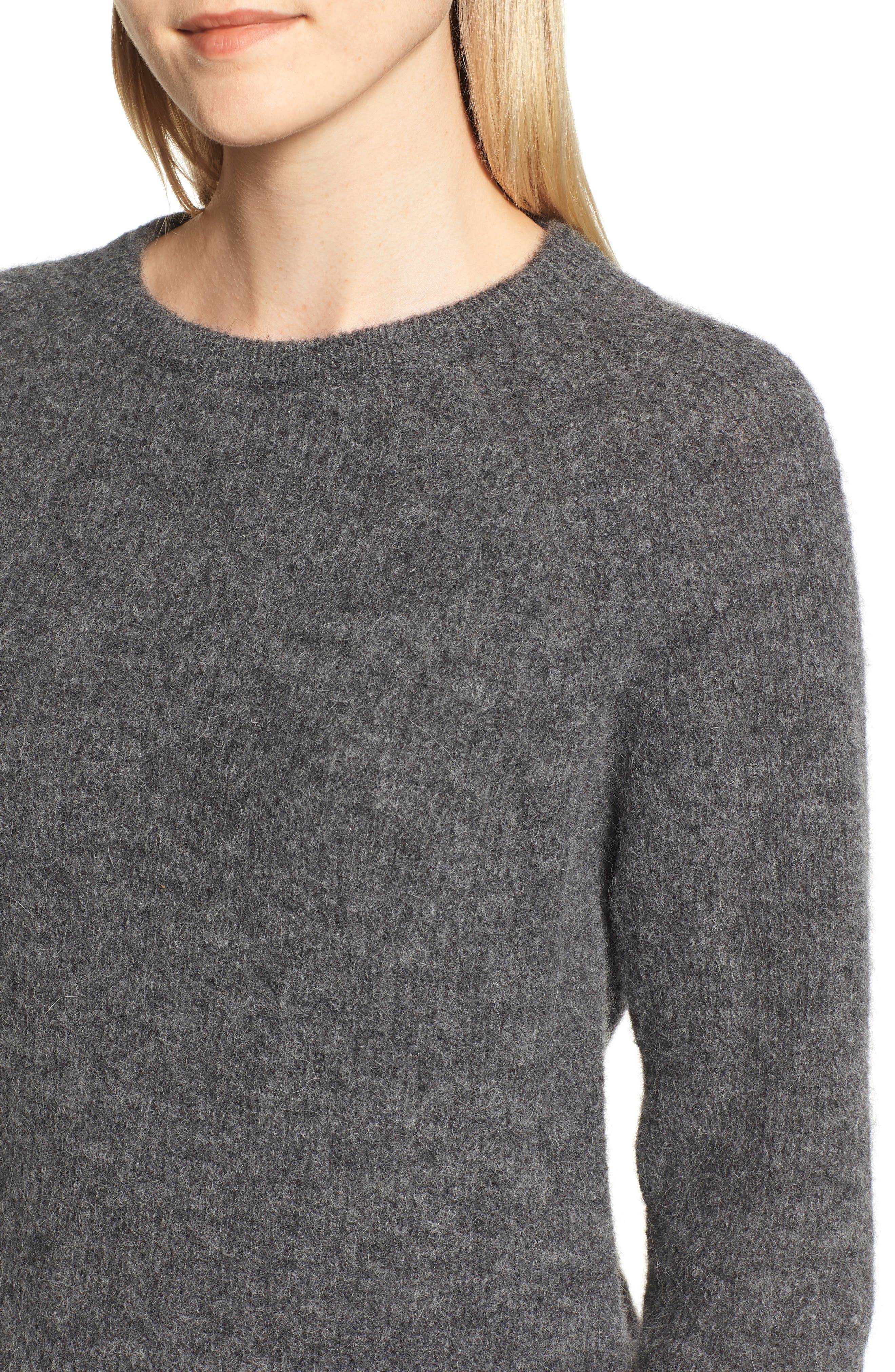 Olivia Crewneck Sweater,                             Alternate thumbnail 4, color,                             DARK GREY MARL