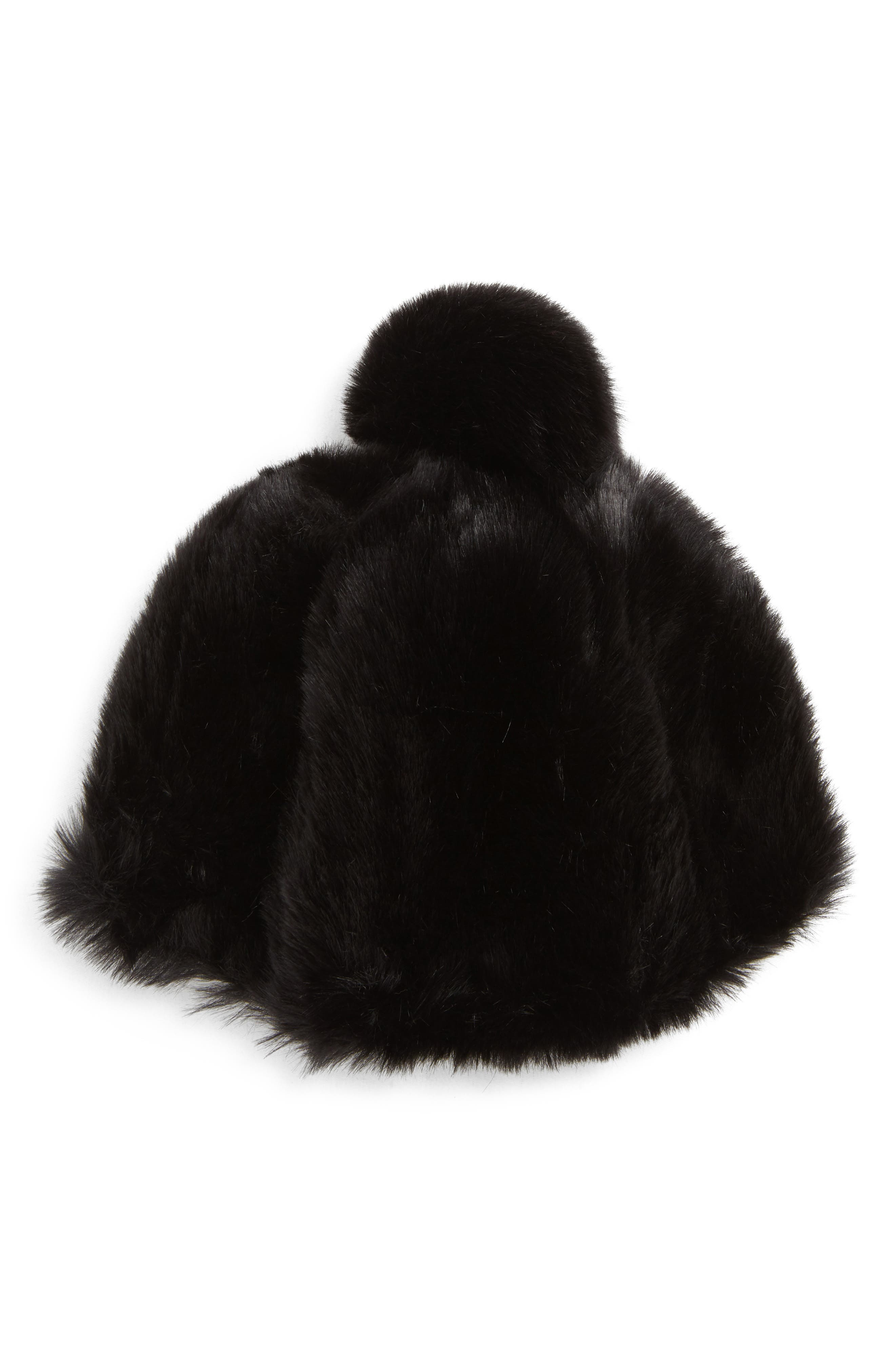 Faux Fur Oversized Pom Hat,                             Main thumbnail 1, color,                             001