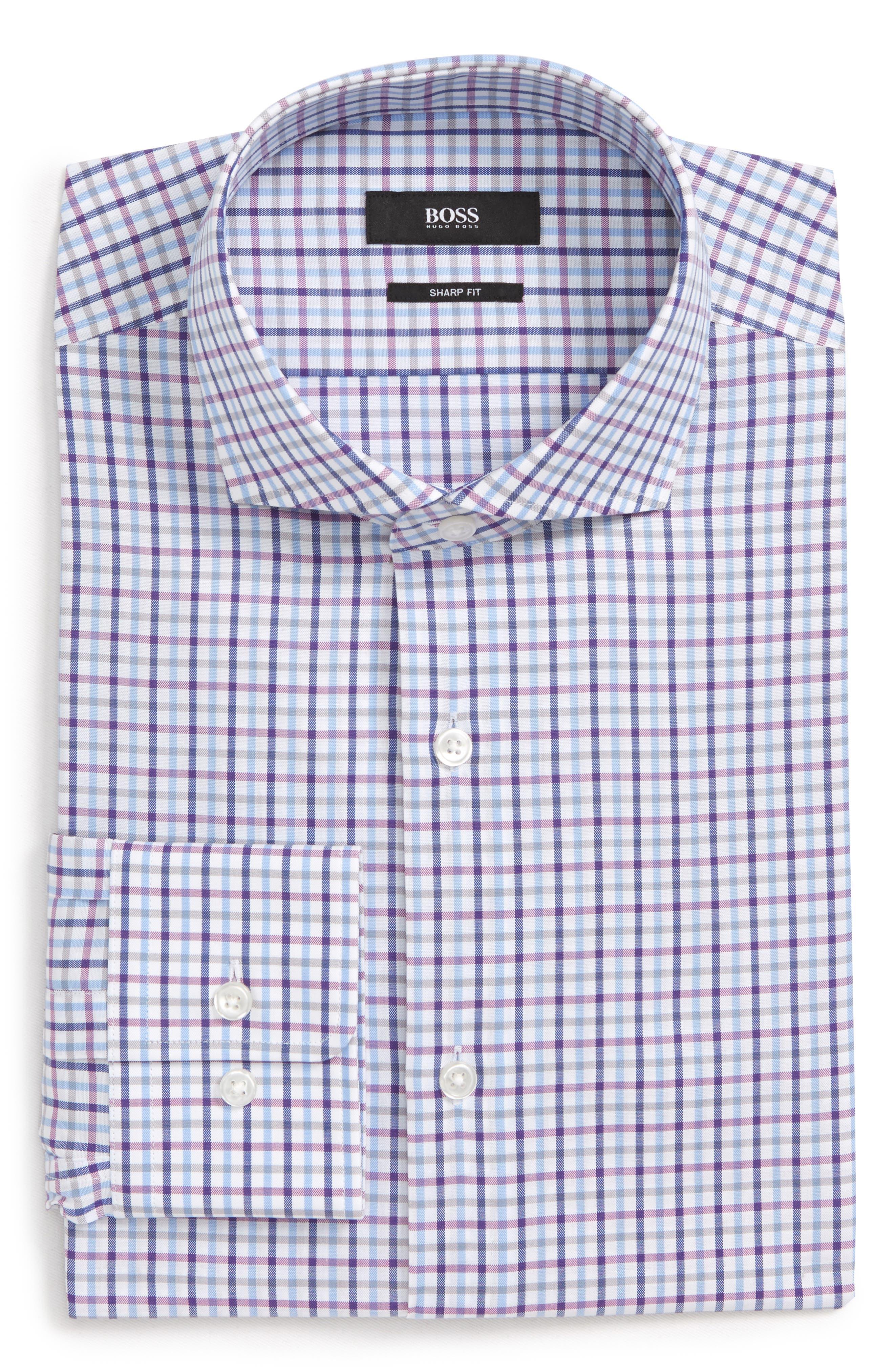 Sharp Fit Mark Check Dress Shirt,                             Alternate thumbnail 5, color,                             PURPLE