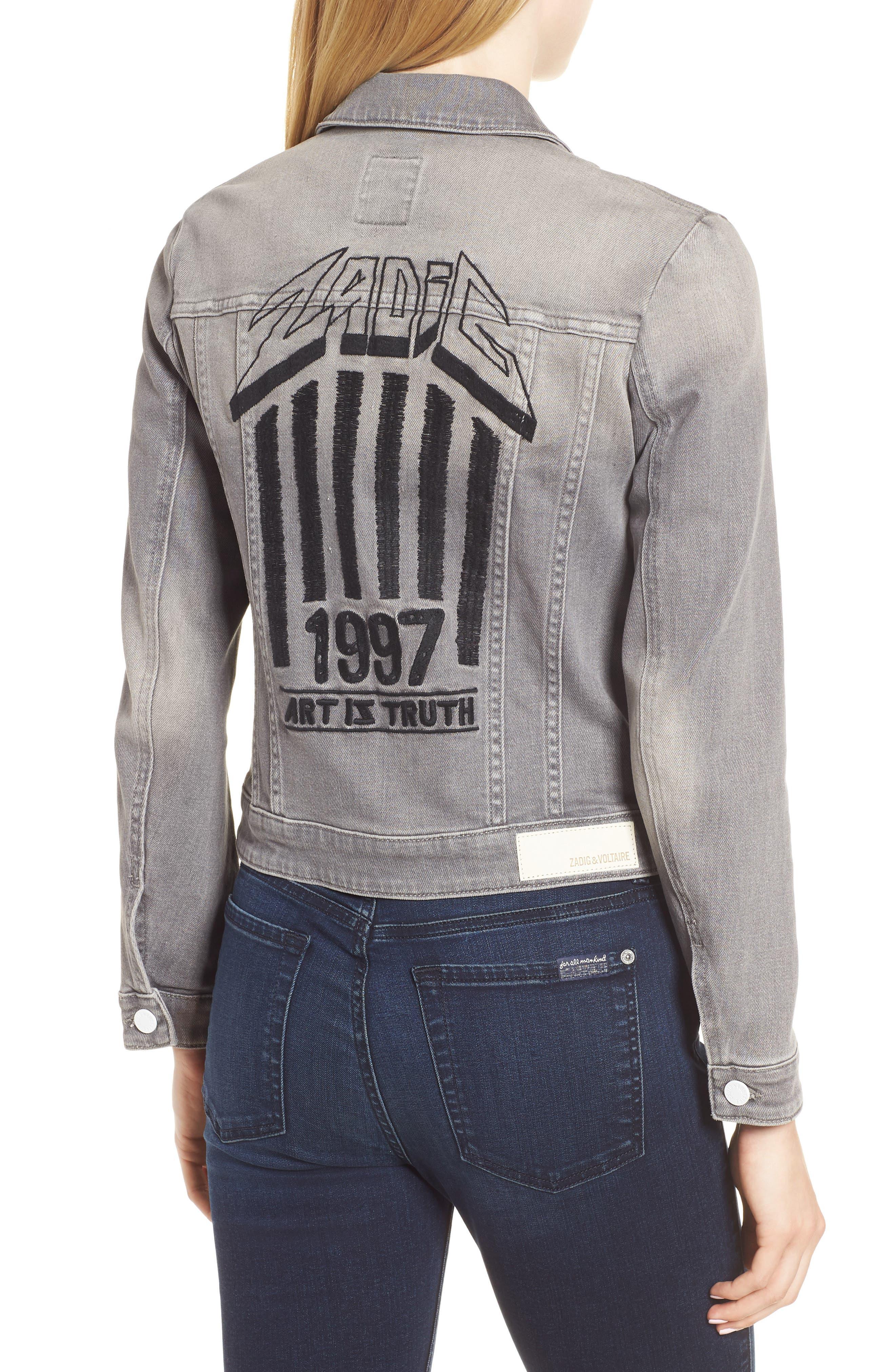 Kioky Gris Brode Denim Jacket,                             Alternate thumbnail 2, color,                             076