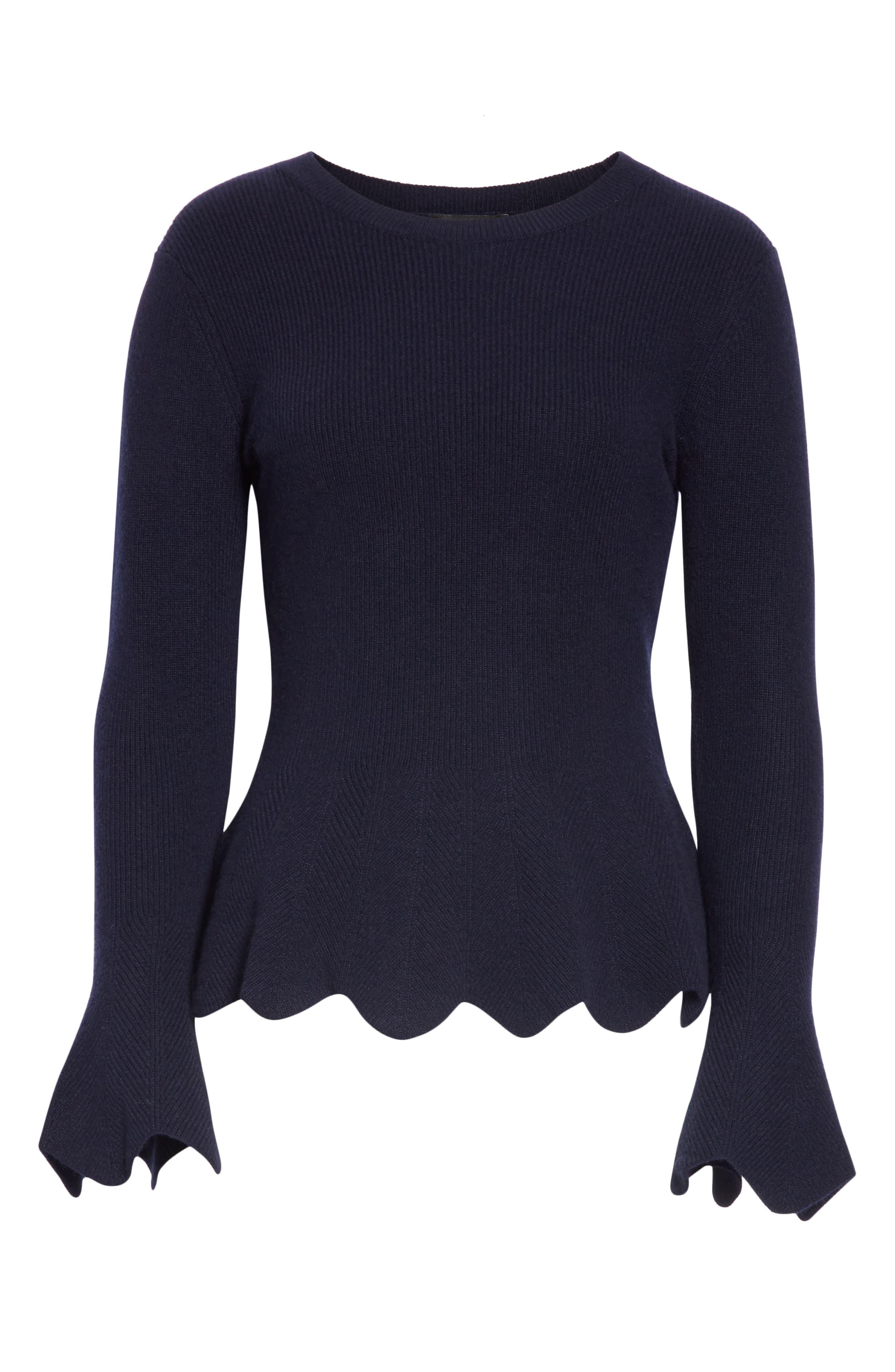 Bobbe Wool Blend Peplum Sweater,                             Alternate thumbnail 6, color,                             410