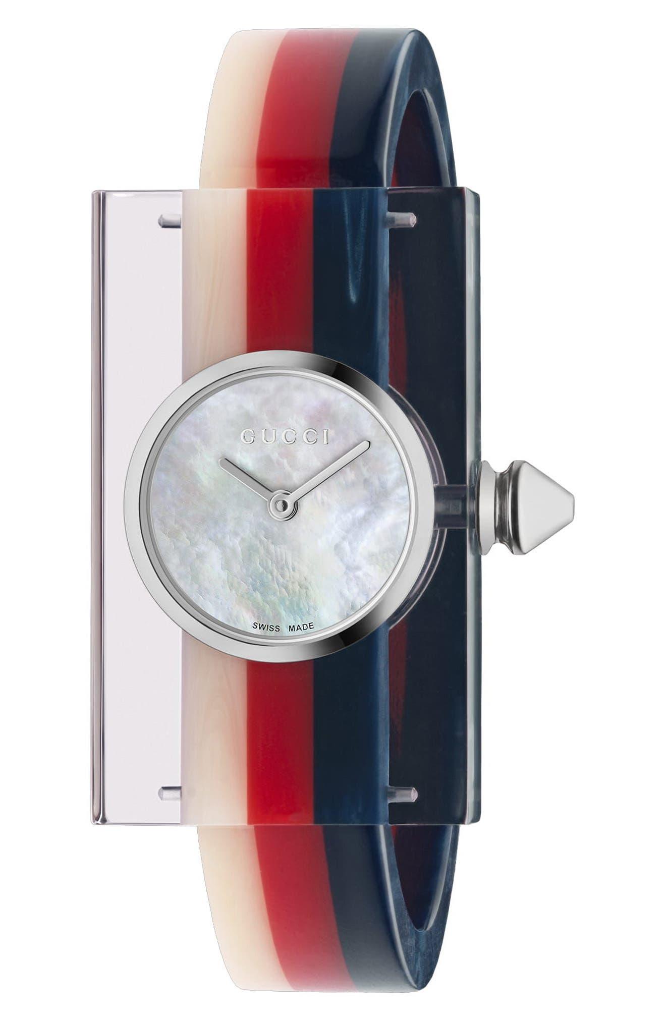 GUCCI,                             Plexiglas Bracelet Watch, 24mm x 40mm,                             Main thumbnail 1, color,                             PINK/ RED/ GREEN
