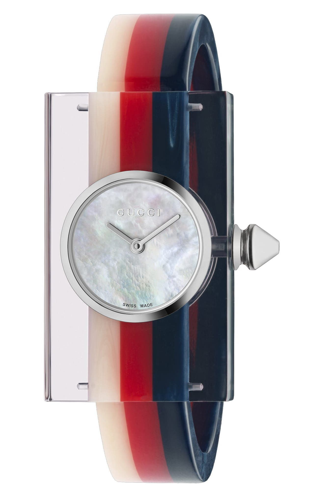 GUCCI Plexiglas Bracelet Watch, 24mm x 40mm, Main, color, PINK/ RED/ GREEN