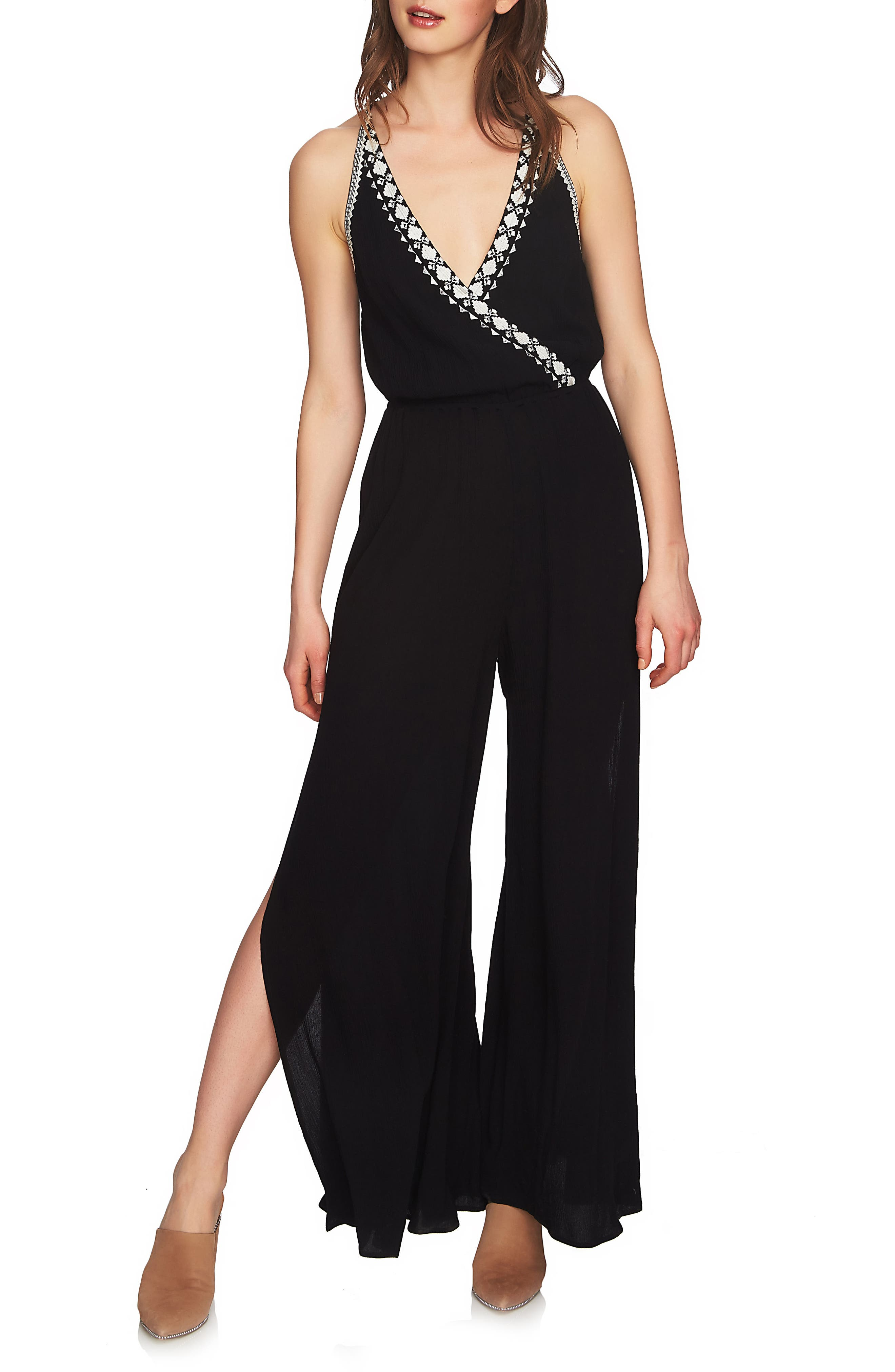 Embroidered Halter Jumpsuit,                             Main thumbnail 1, color,                             006