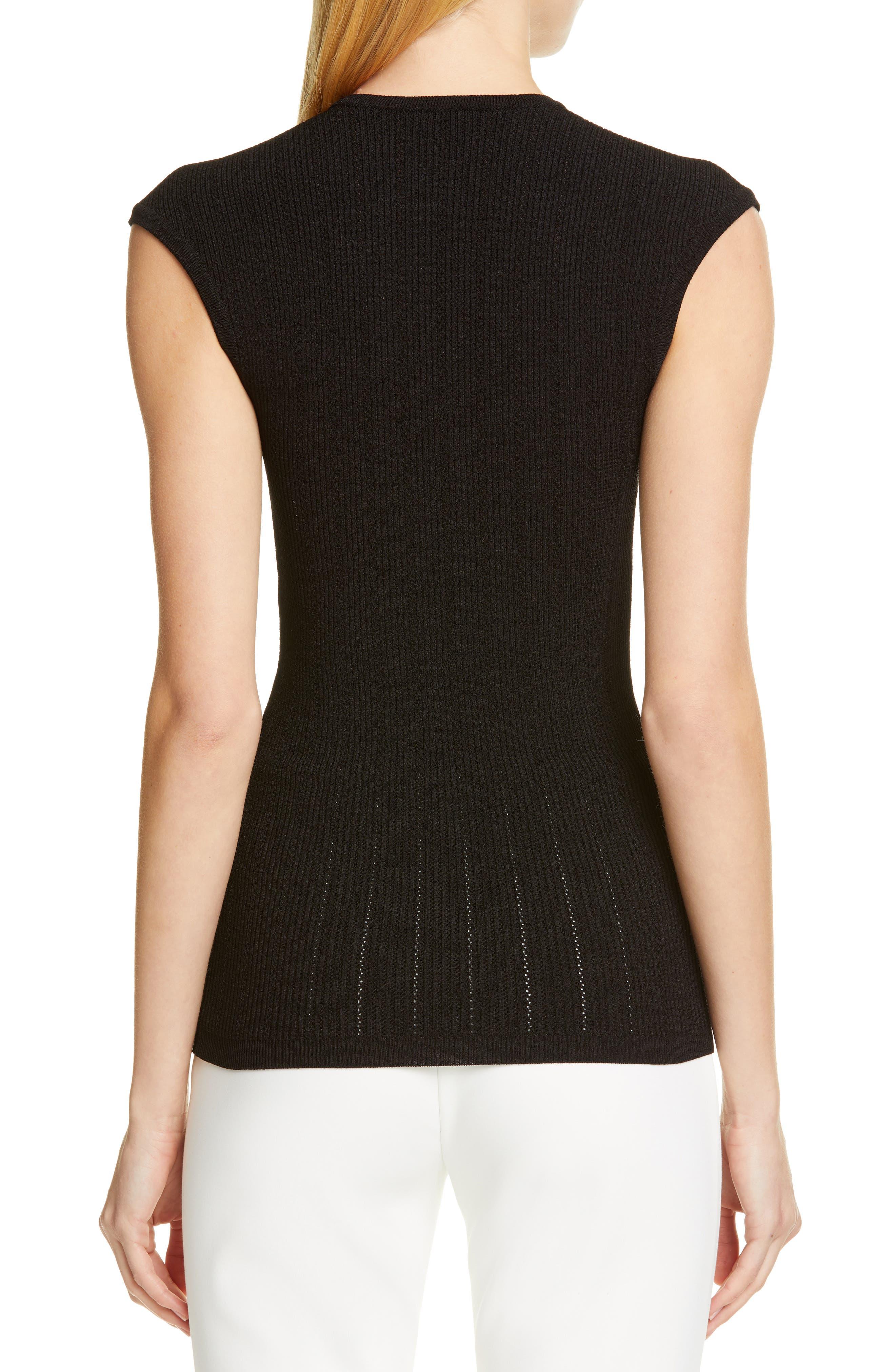BALMAIN,                             Shoulder Button Rib Knit Top,                             Alternate thumbnail 2, color,                             0PA NOIR