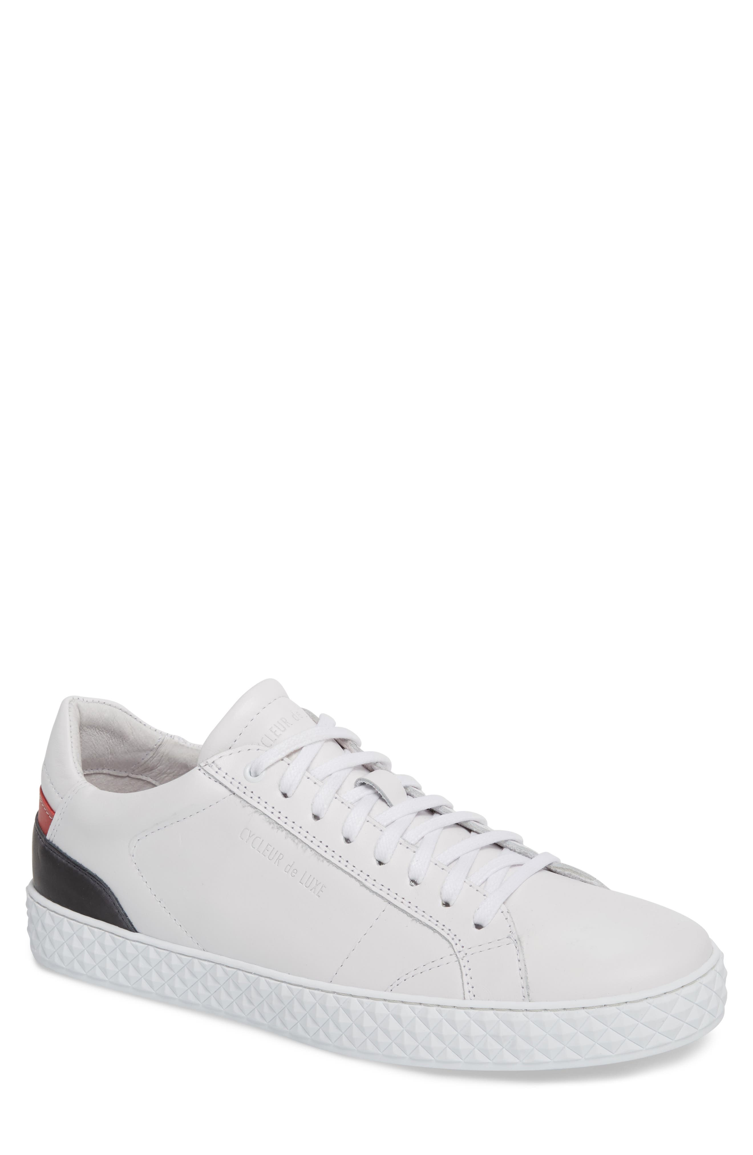 Bratislava Low Top Sneaker,                         Main,                         color, OPTIC WHITE/ RED/ NAVY LEATHER