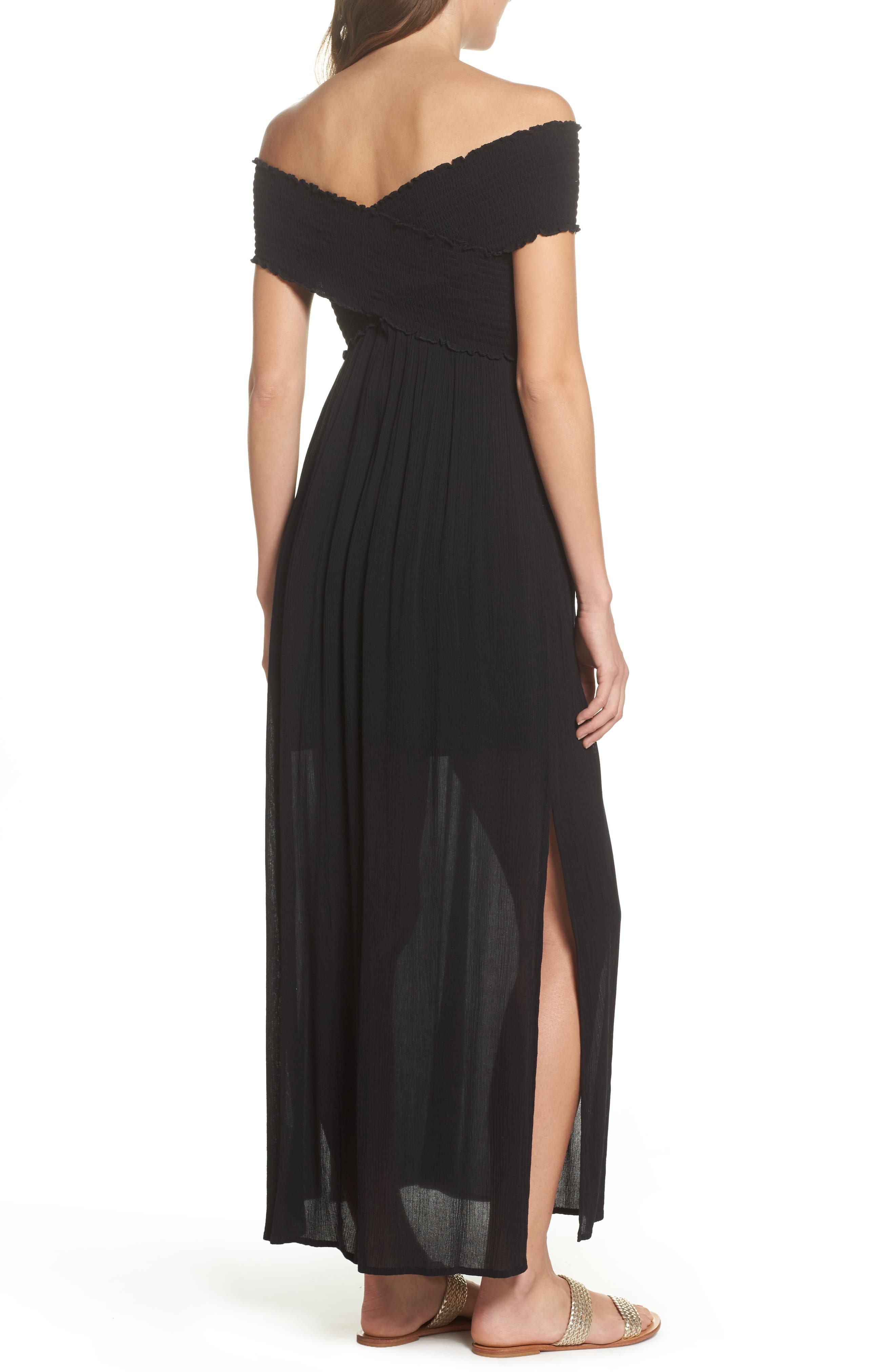 Smocked Off-the-Shoulder Cover-Up Maxi Dress,                             Alternate thumbnail 2, color,                             001