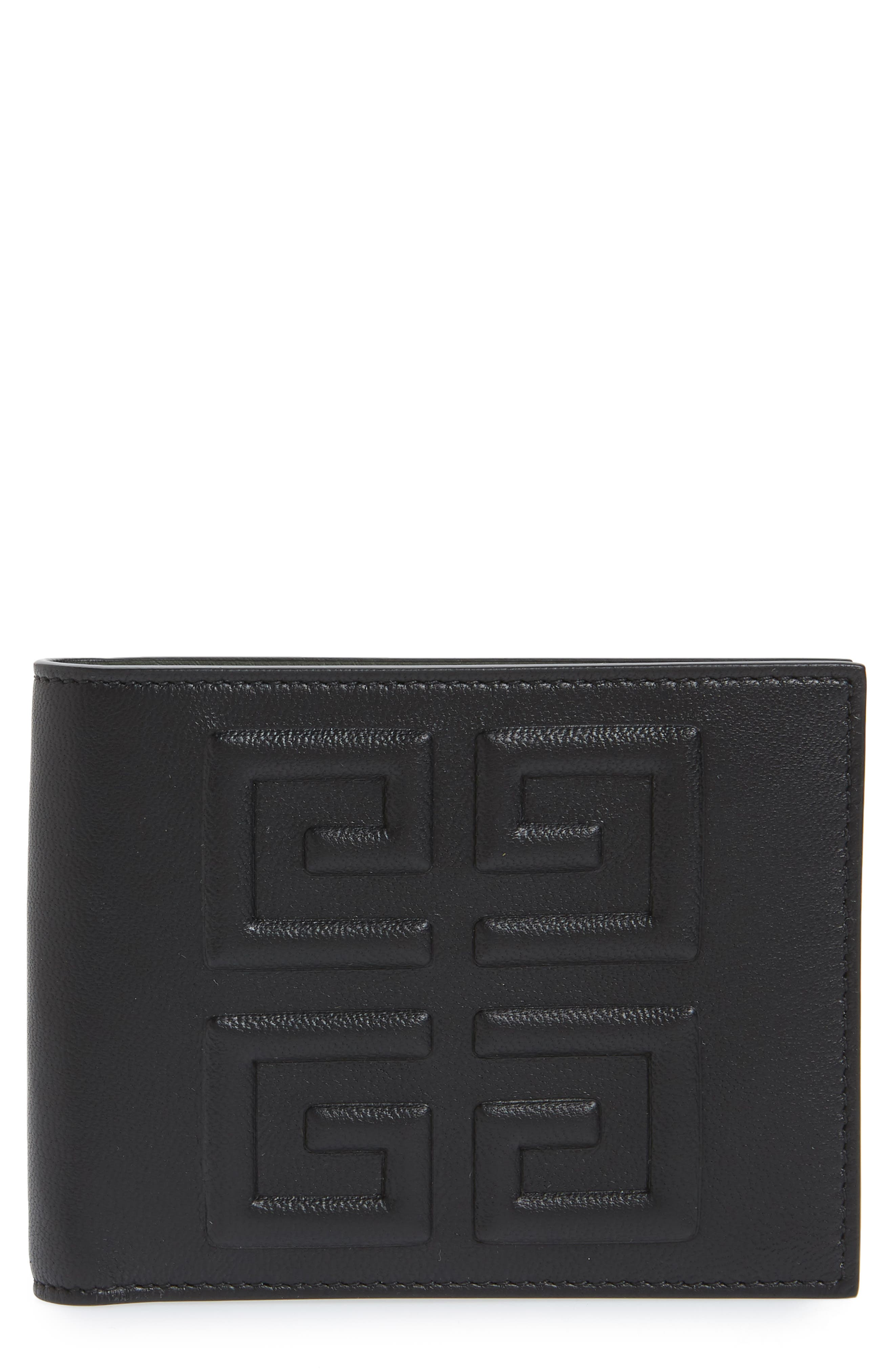 Embossed 4G Leather Bifold Wallet,                             Main thumbnail 1, color,                             BLACK/ KHAKI
