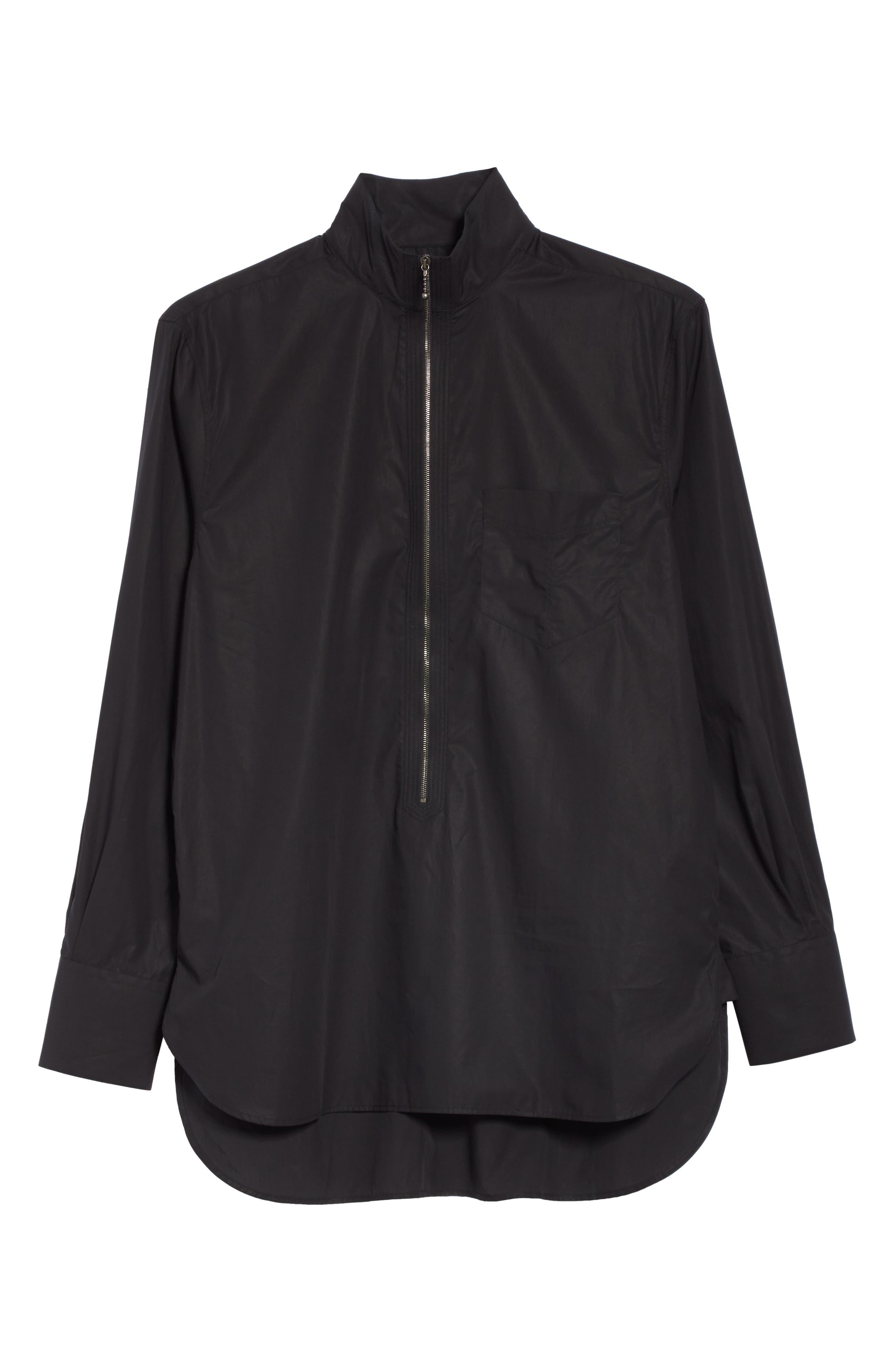 Zip Front Cotton Shirt,                             Alternate thumbnail 5, color,                             BLACK
