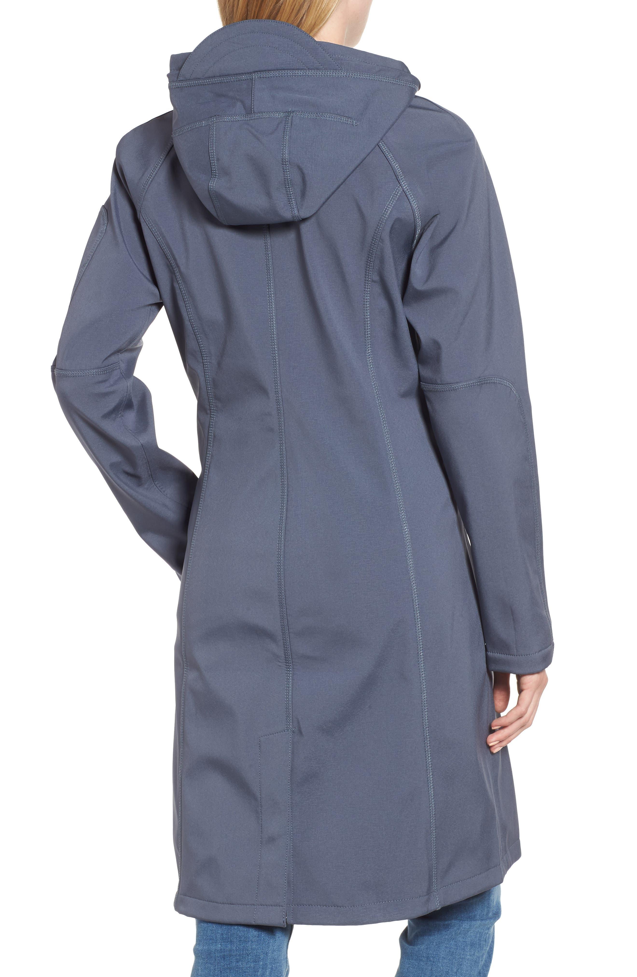 Long Hooded Raincoat,                             Alternate thumbnail 2, color,                             BLUE GRAYNESS