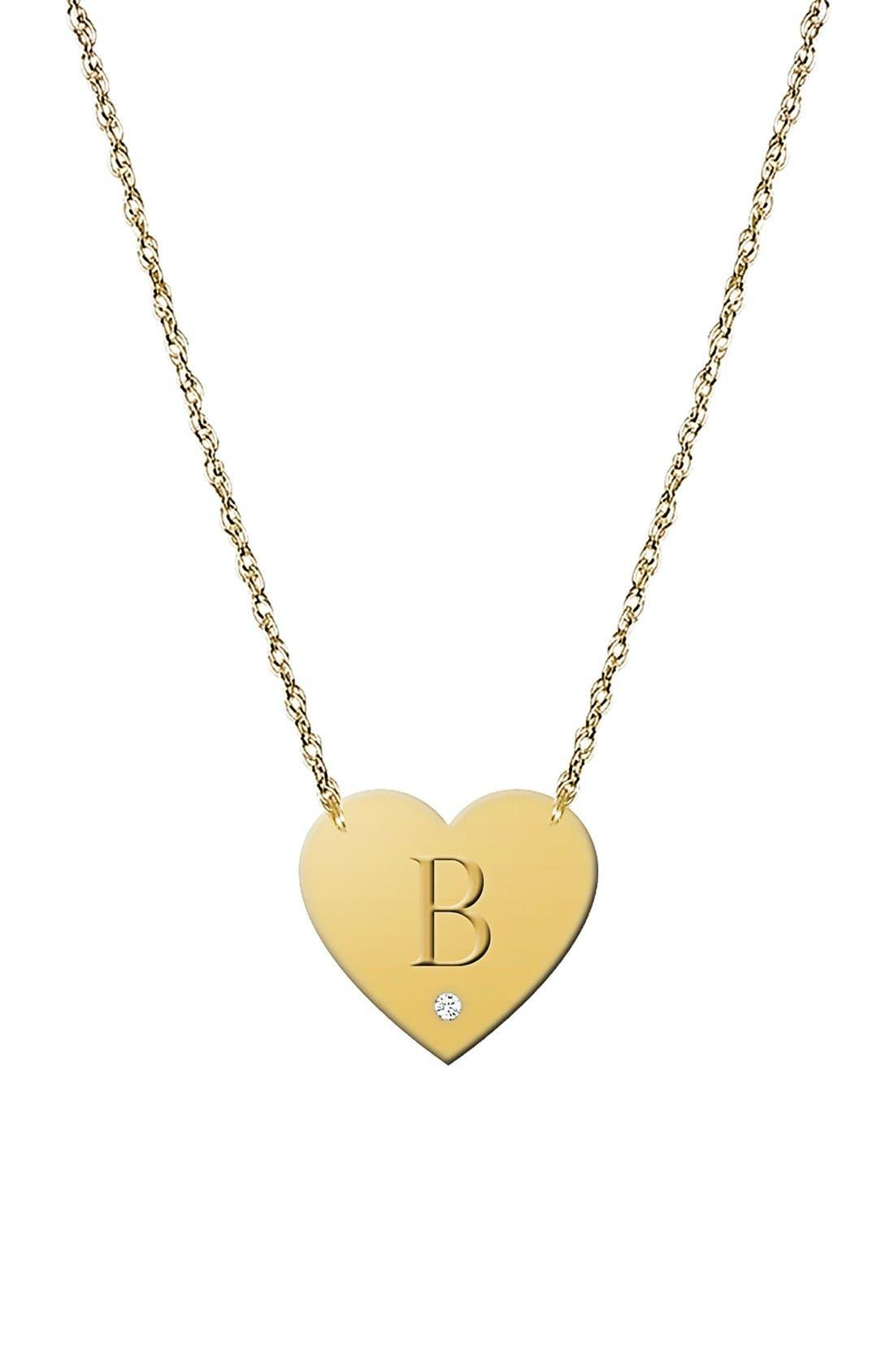 Diamond & Initial Pendant Necklace,                         Main,                         color, GOLD - B