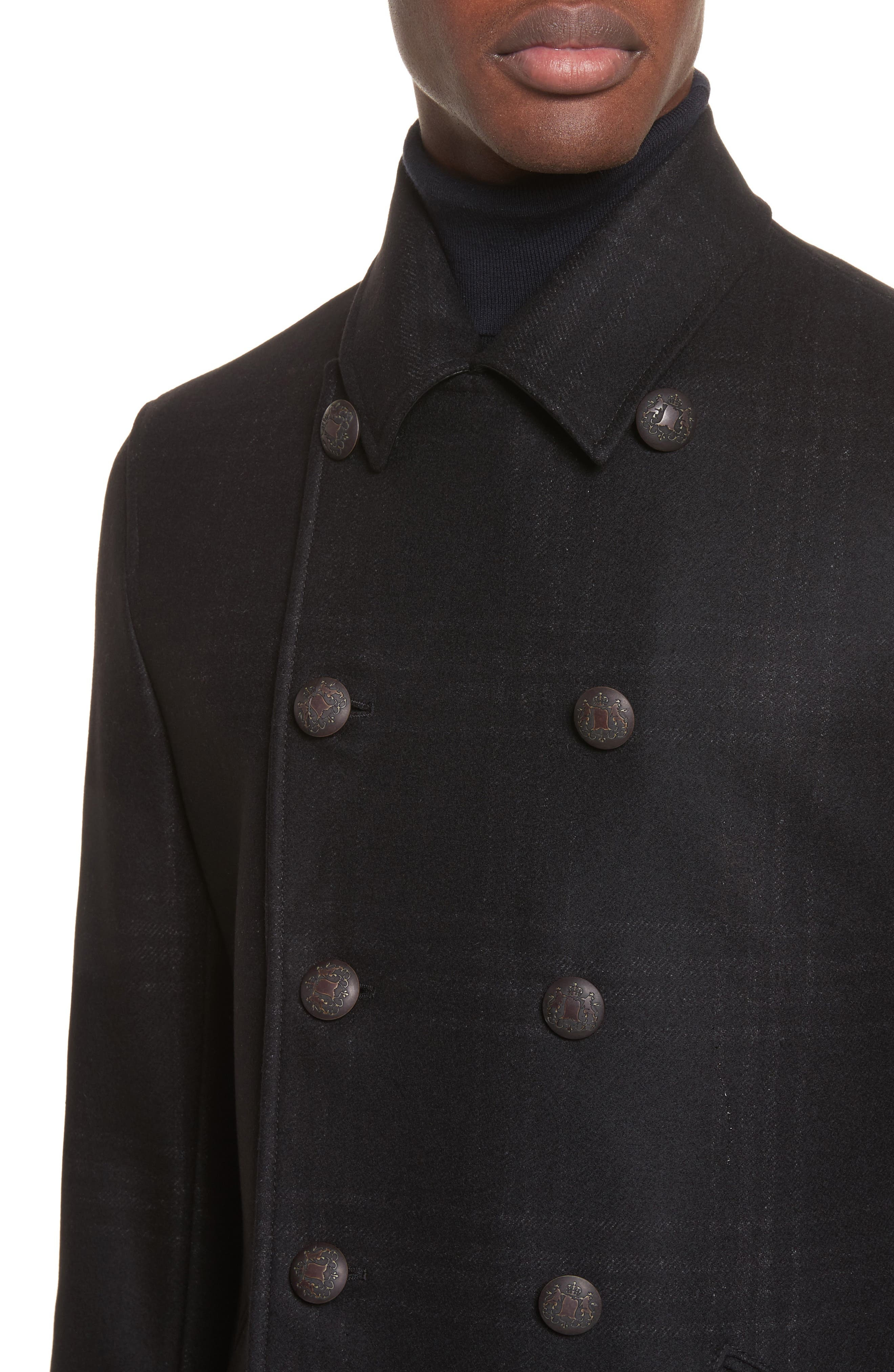 Hook Plaid Wool Blend Topcoat,                             Alternate thumbnail 4, color,                             001
