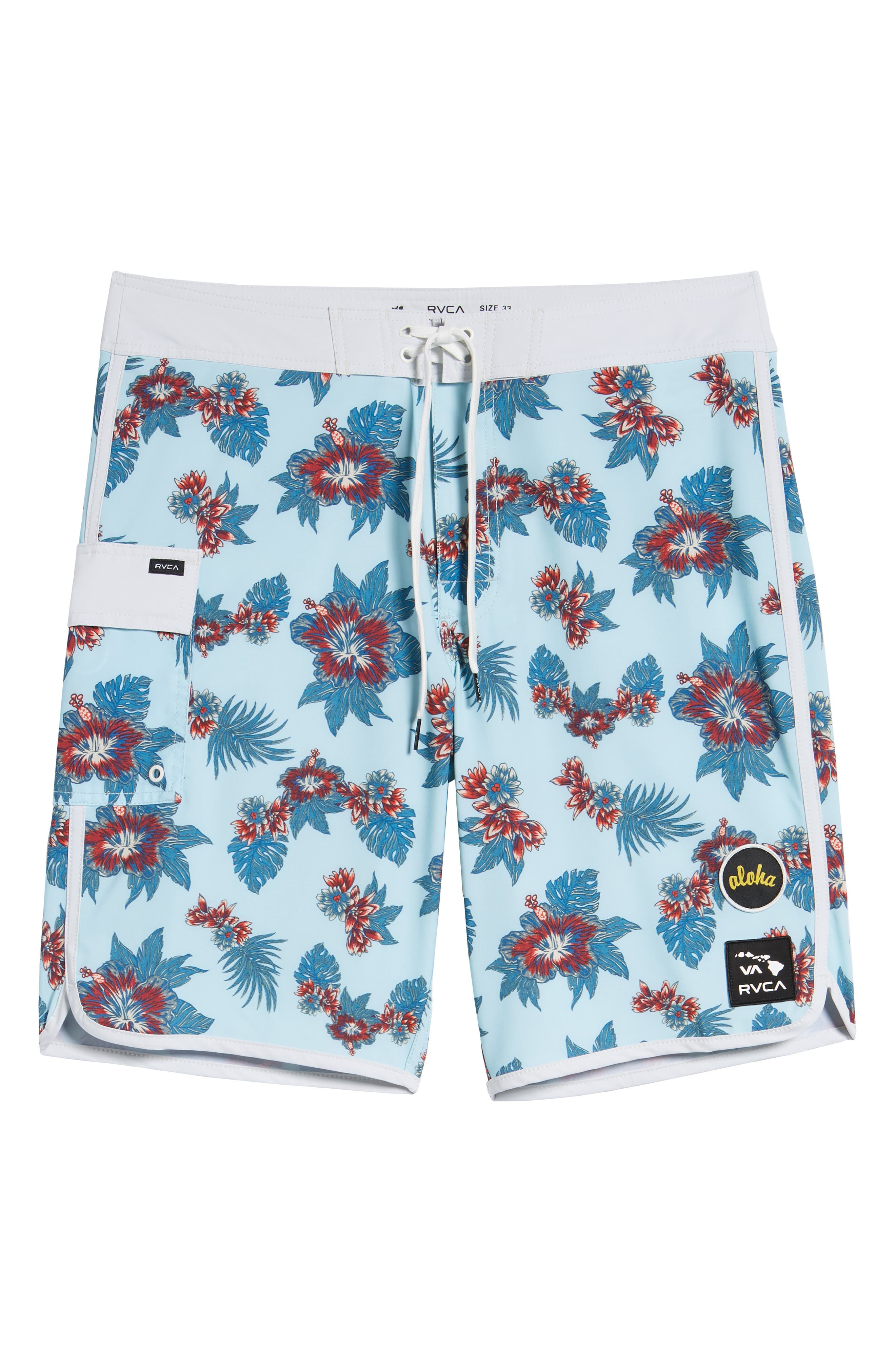 Jeff McMillan Floral Swim Trunks,                             Alternate thumbnail 6, color,                             BLUE FLORAL