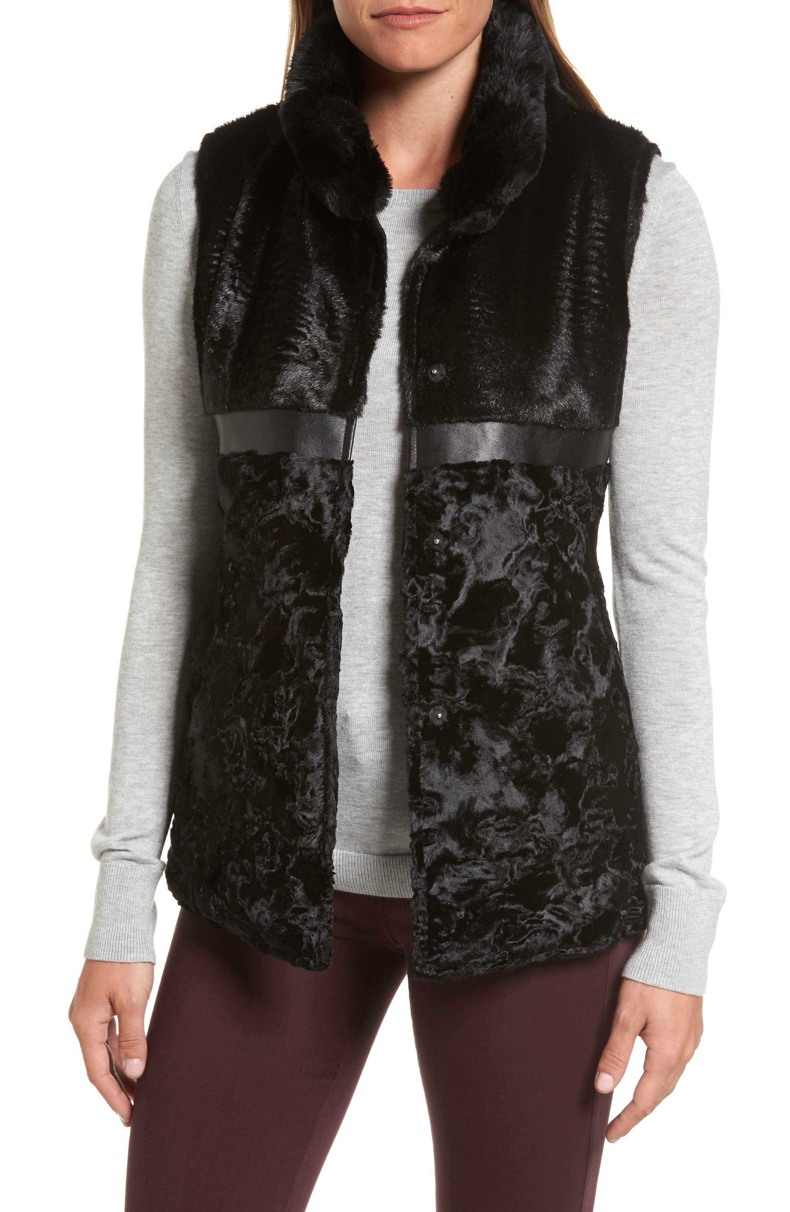 Reversible Faux Fur & Faux Leather Vest,                             Main thumbnail 1, color,                             019