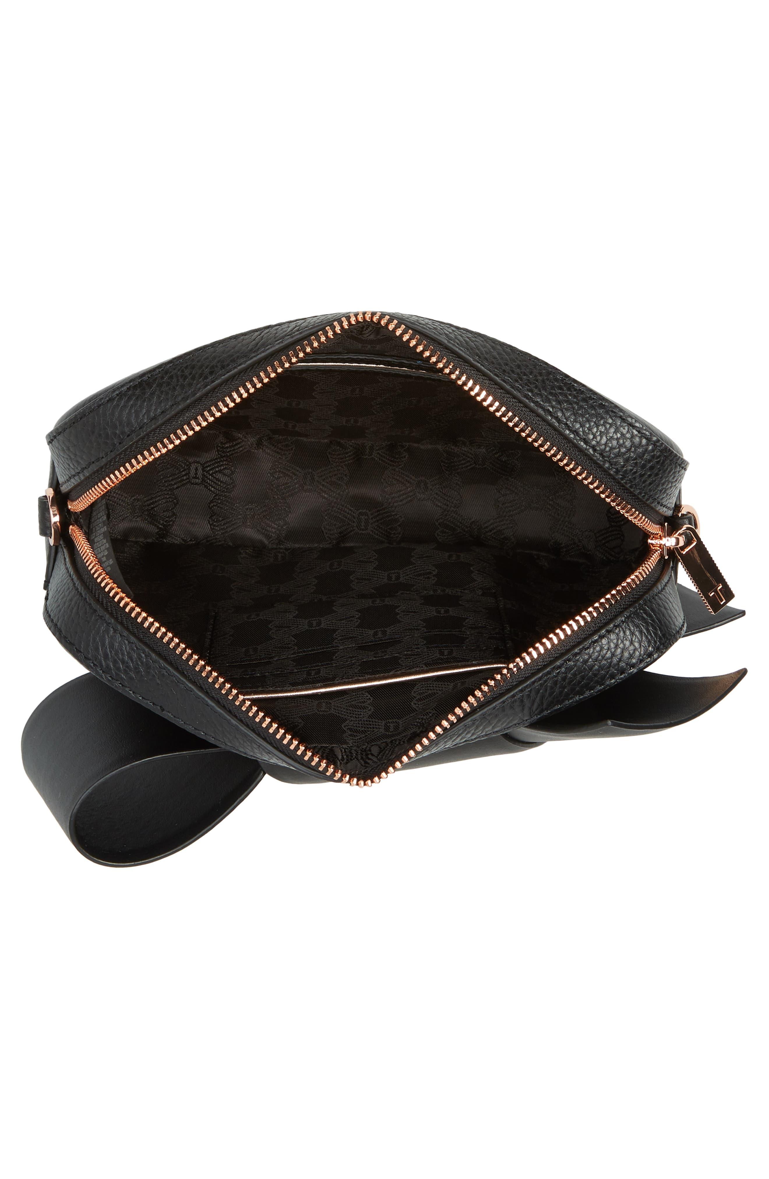Giant Knot Leather Camera Bag,                             Alternate thumbnail 4, color,                             BLACK
