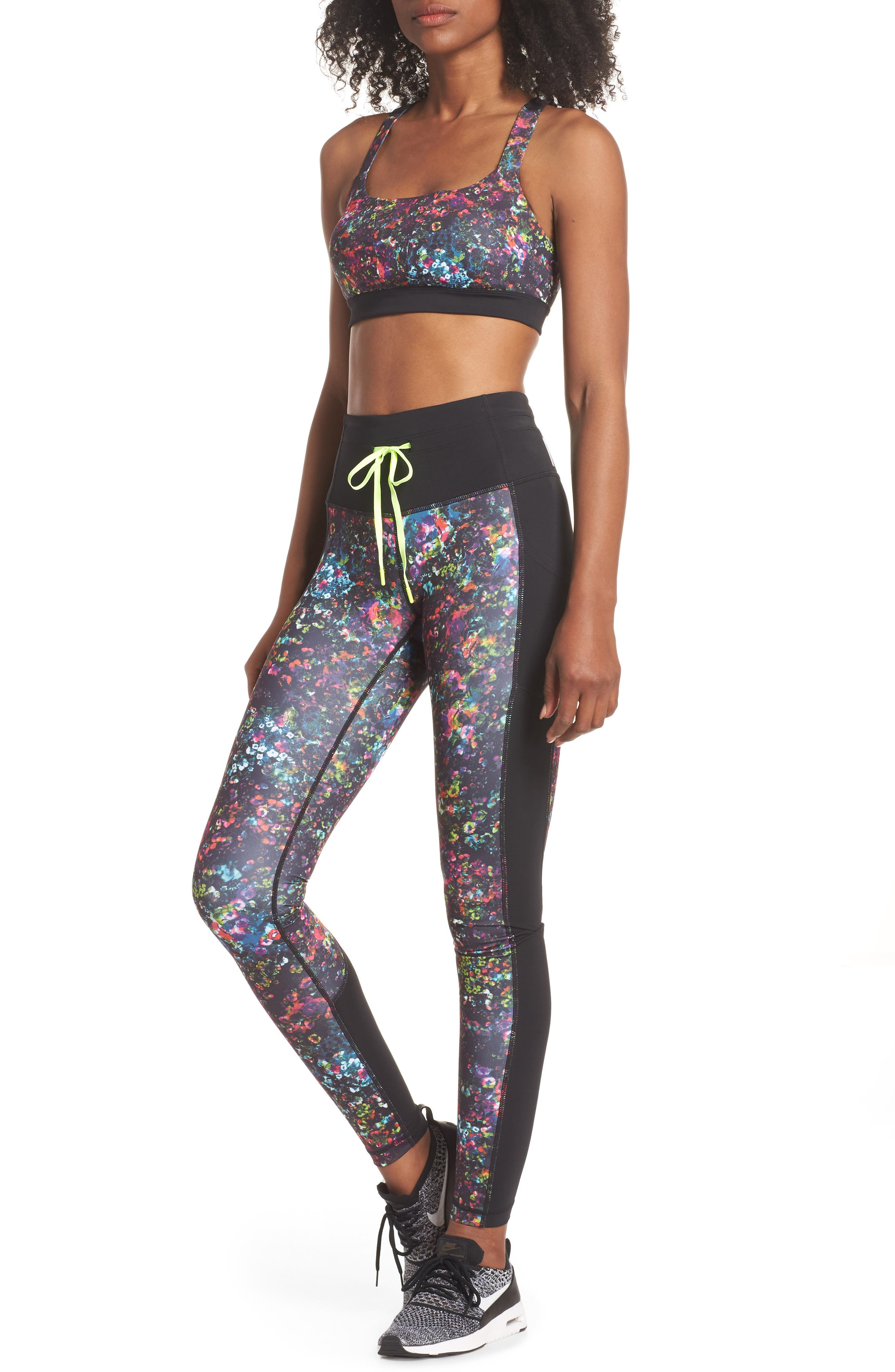 Dawn Print Sports Bra,                             Alternate thumbnail 8, color,                             001