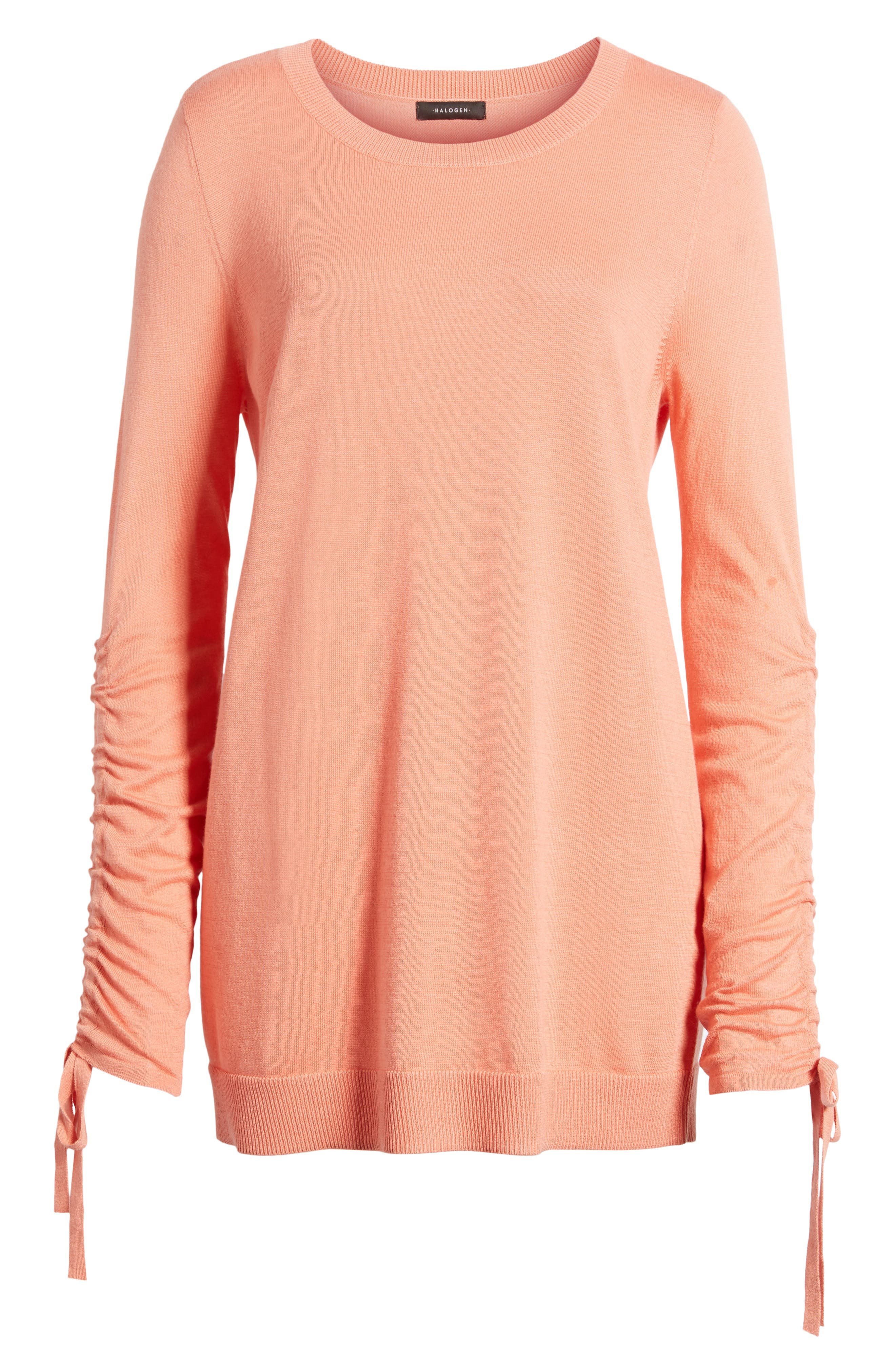 Ruched Sleeve Tunic Sweater,                             Alternate thumbnail 30, color,