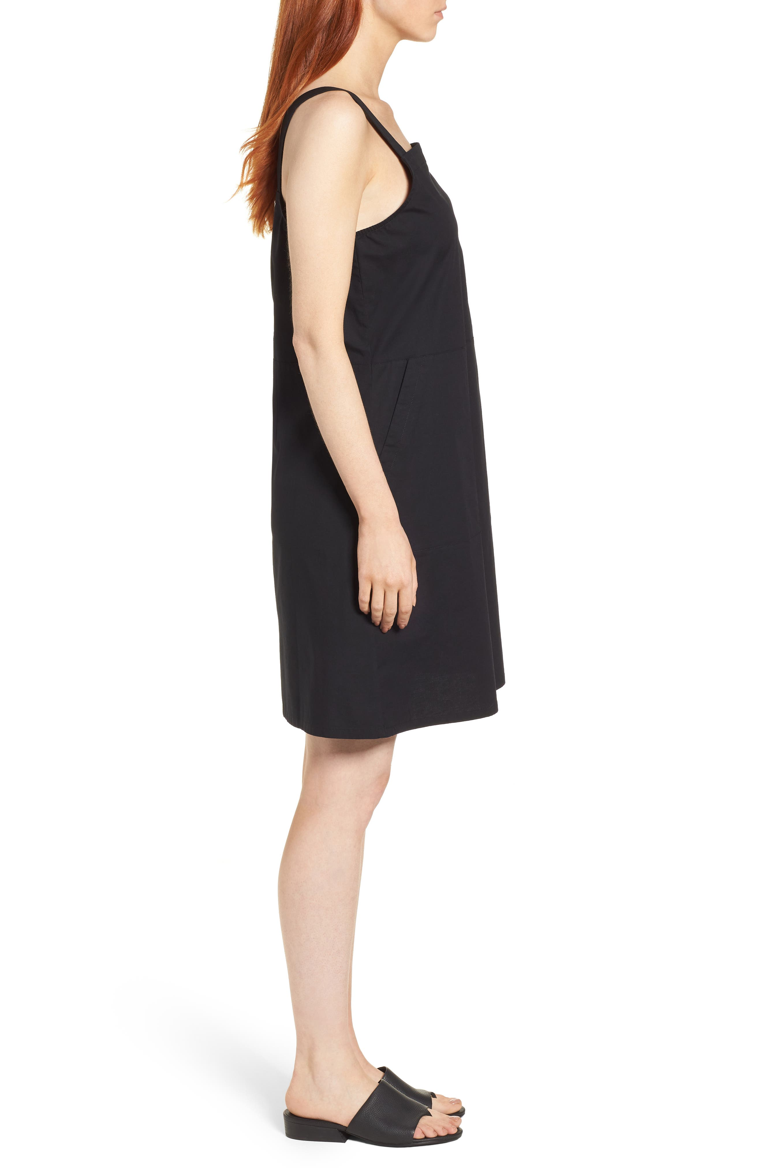 Stretch Organic Cotton Tank Dress,                             Alternate thumbnail 3, color,                             001