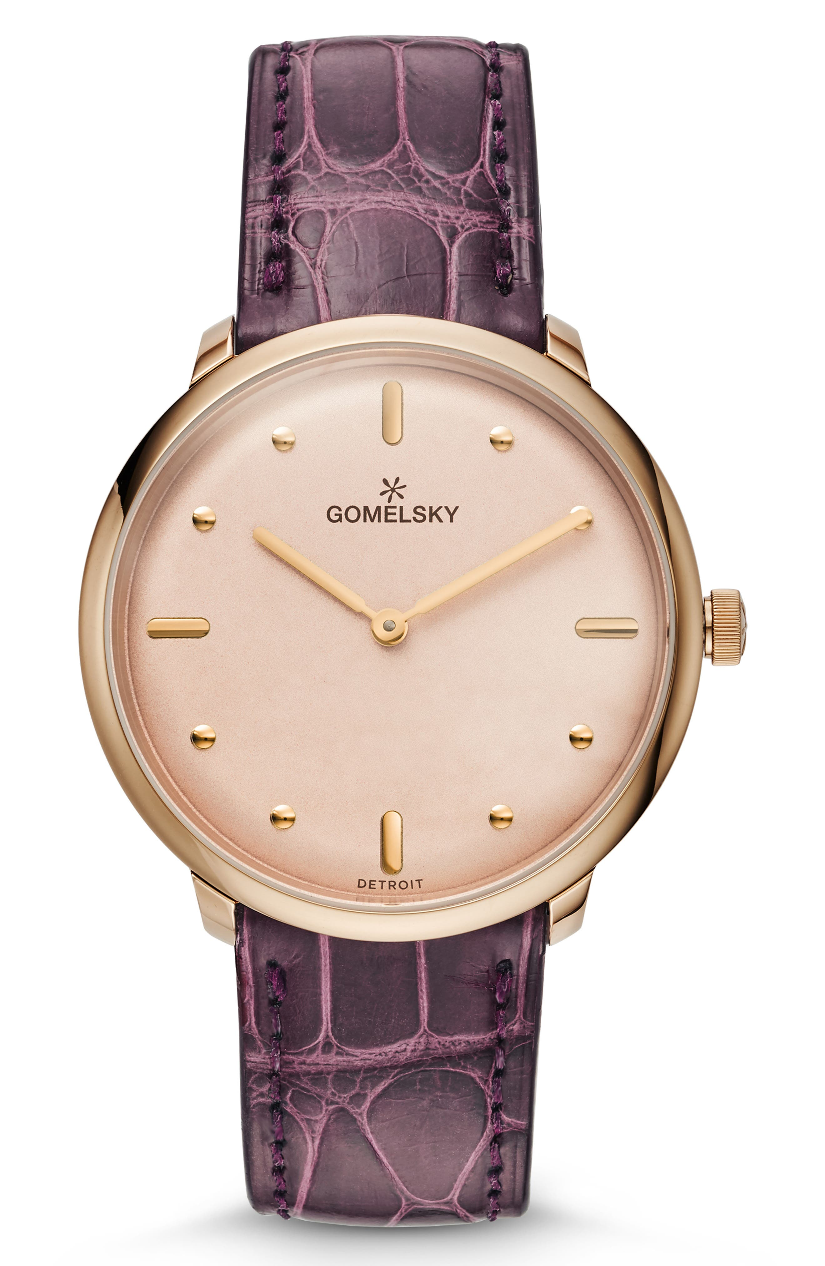 GOMELSKY The Lois Alligator Strap Watch, 36Mm in Purple/ Pink/ Champagne