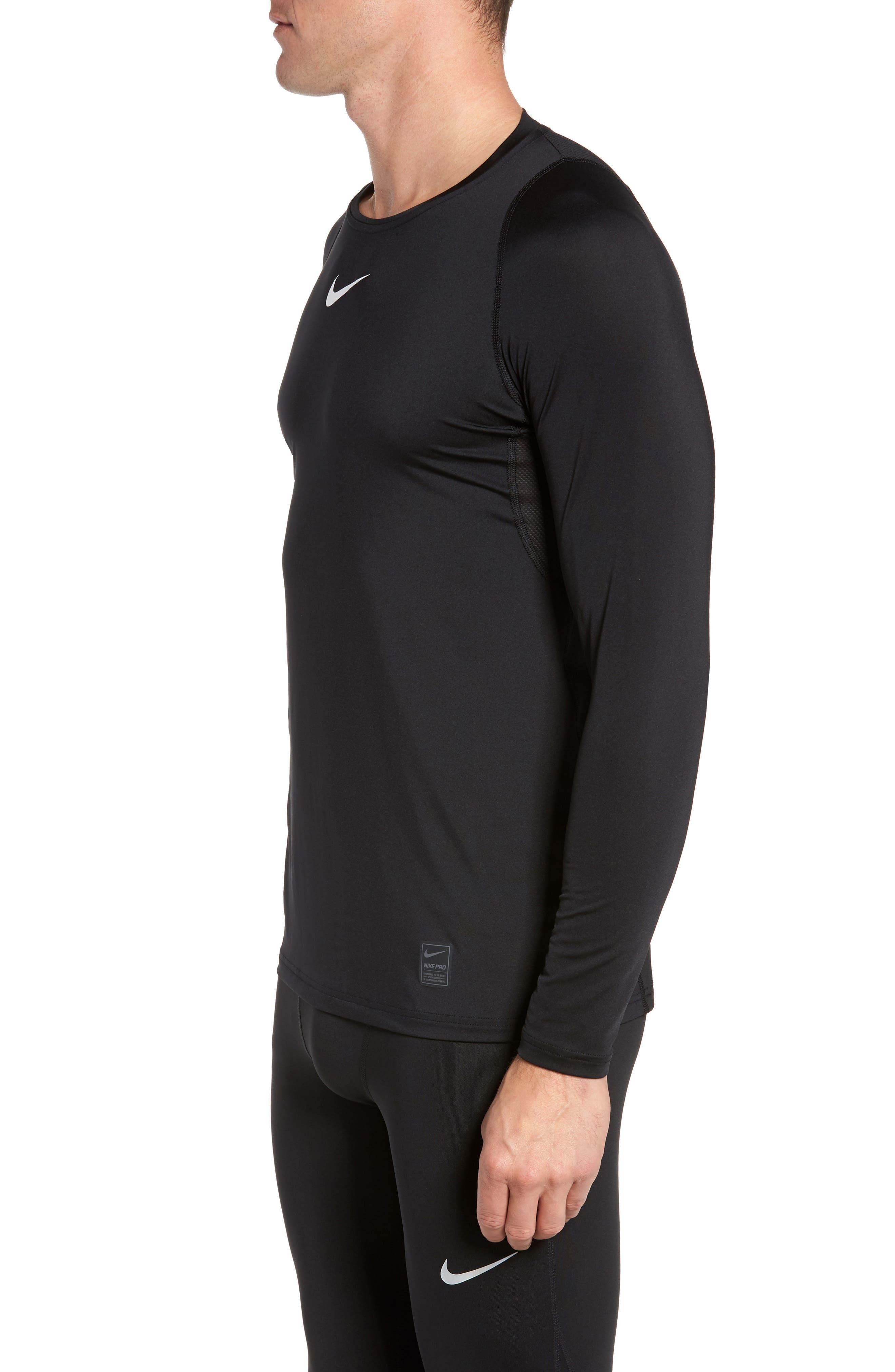 Pro Fitted Performance T-Shirt,                             Alternate thumbnail 3, color,                             BLACK/ WHITE/ WHITE