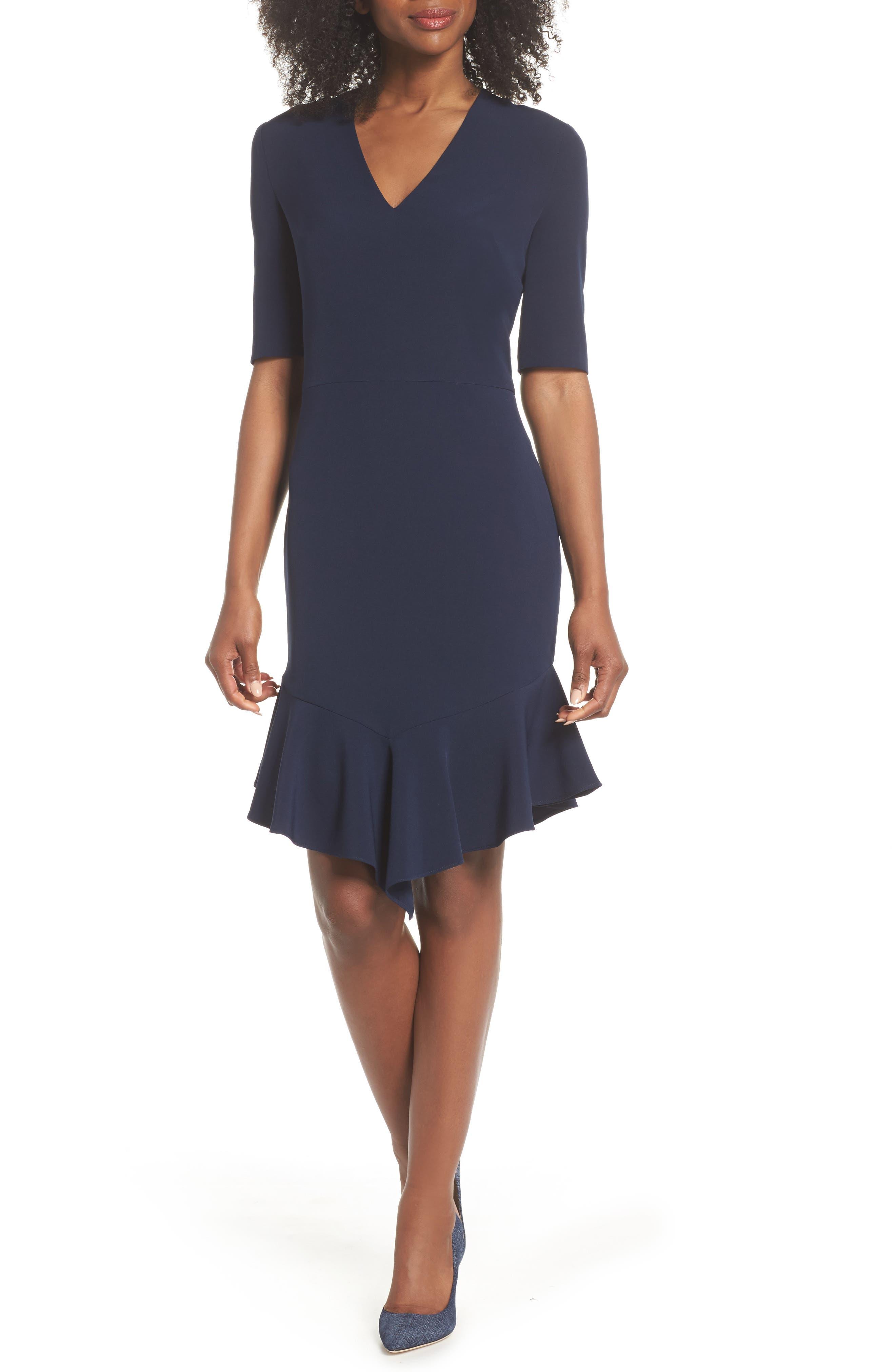 Flounce Hem Sheath Dress,                             Main thumbnail 1, color,                             NAVY