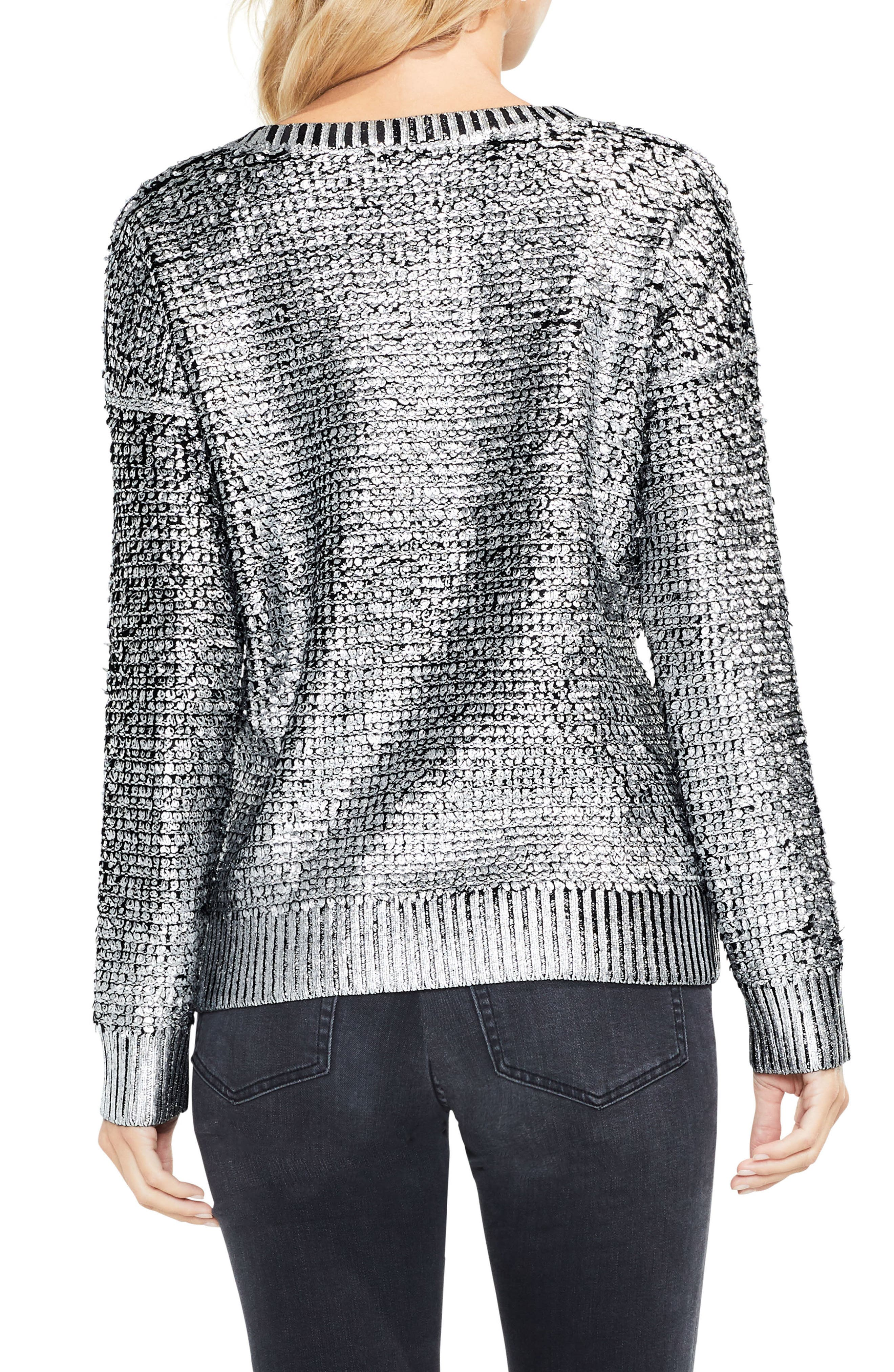 Loop Stitch Foil Print Sweater,                             Alternate thumbnail 2, color,                             006