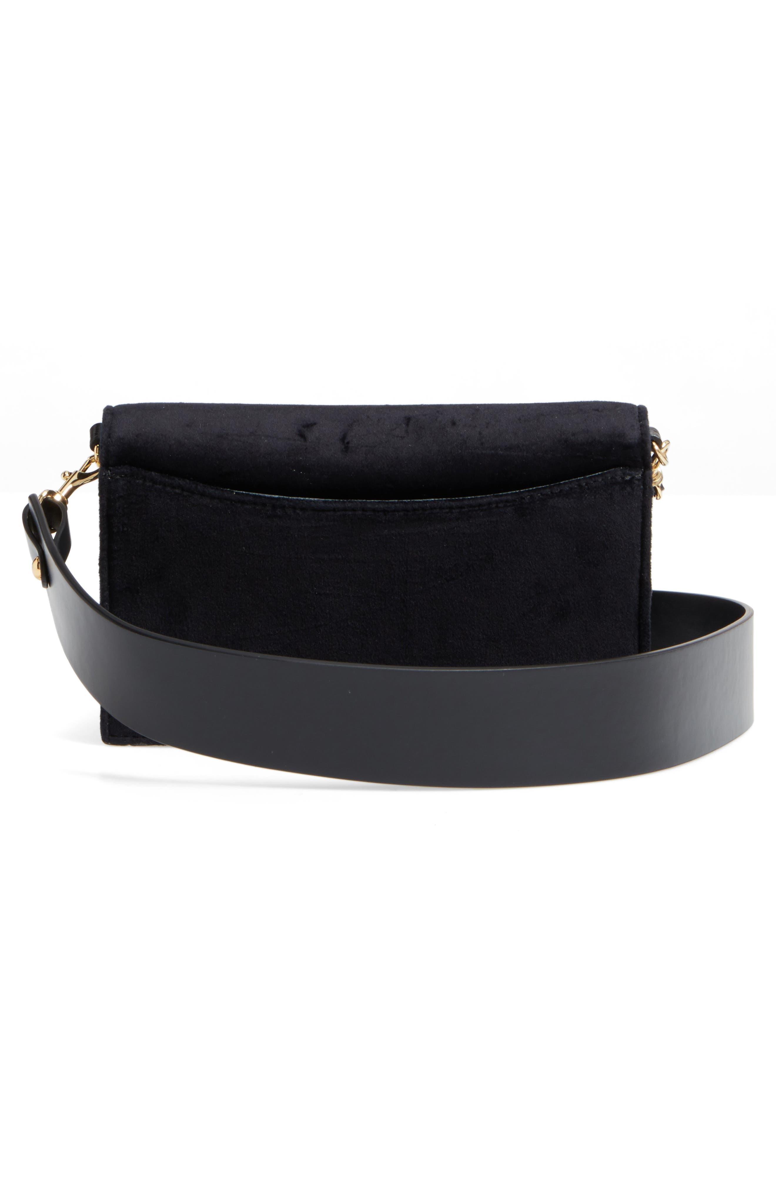 Soirée Velvet Convertible Crossbody Bag,                             Alternate thumbnail 4, color,                             001