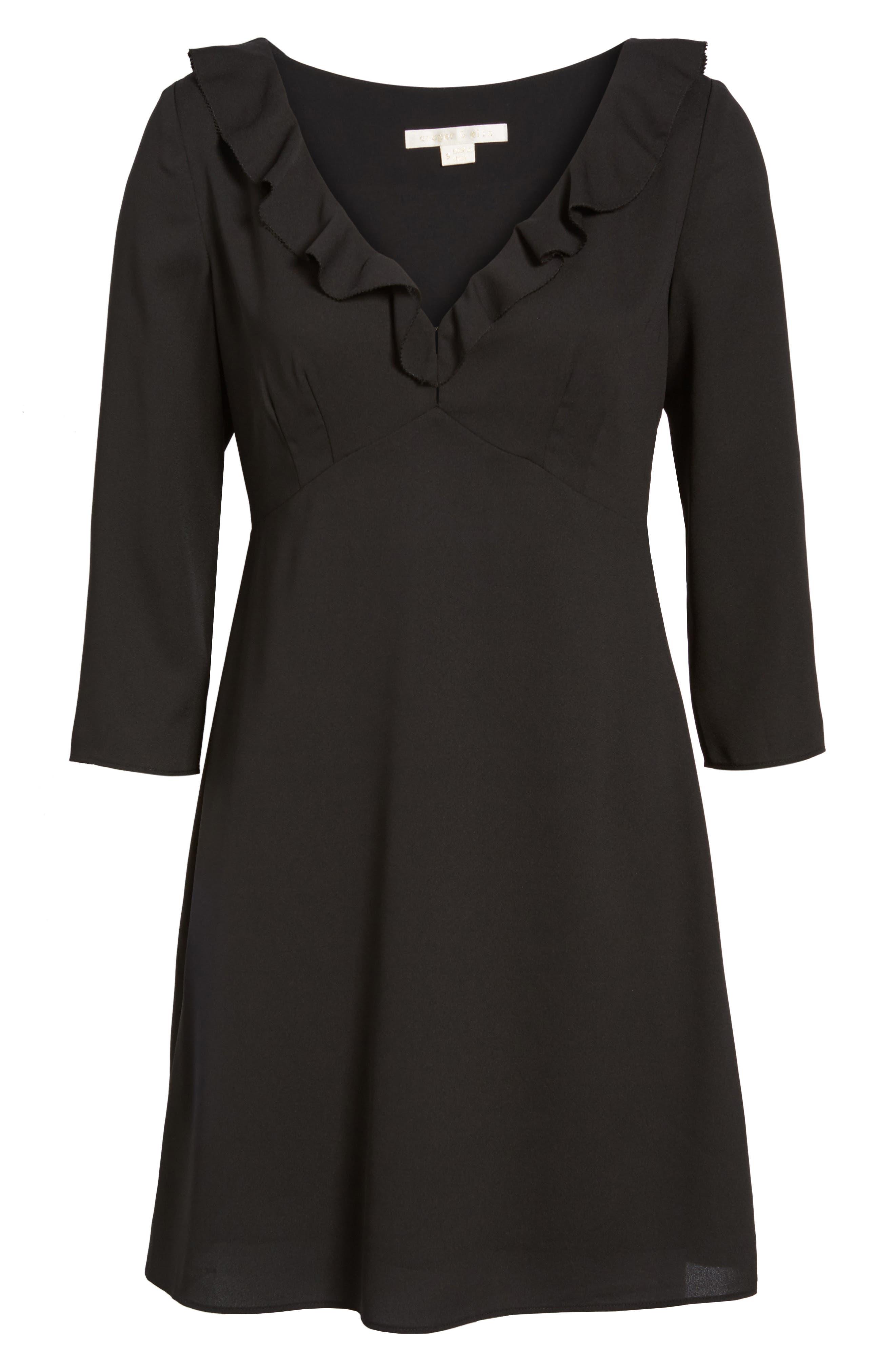 Signe Ruffle A-Line Dress,                             Alternate thumbnail 6, color,                             001