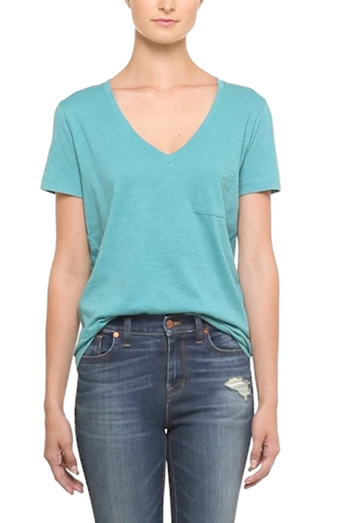 Whisper Cotton V-Neck Pocket Tee,                             Alternate thumbnail 108, color,