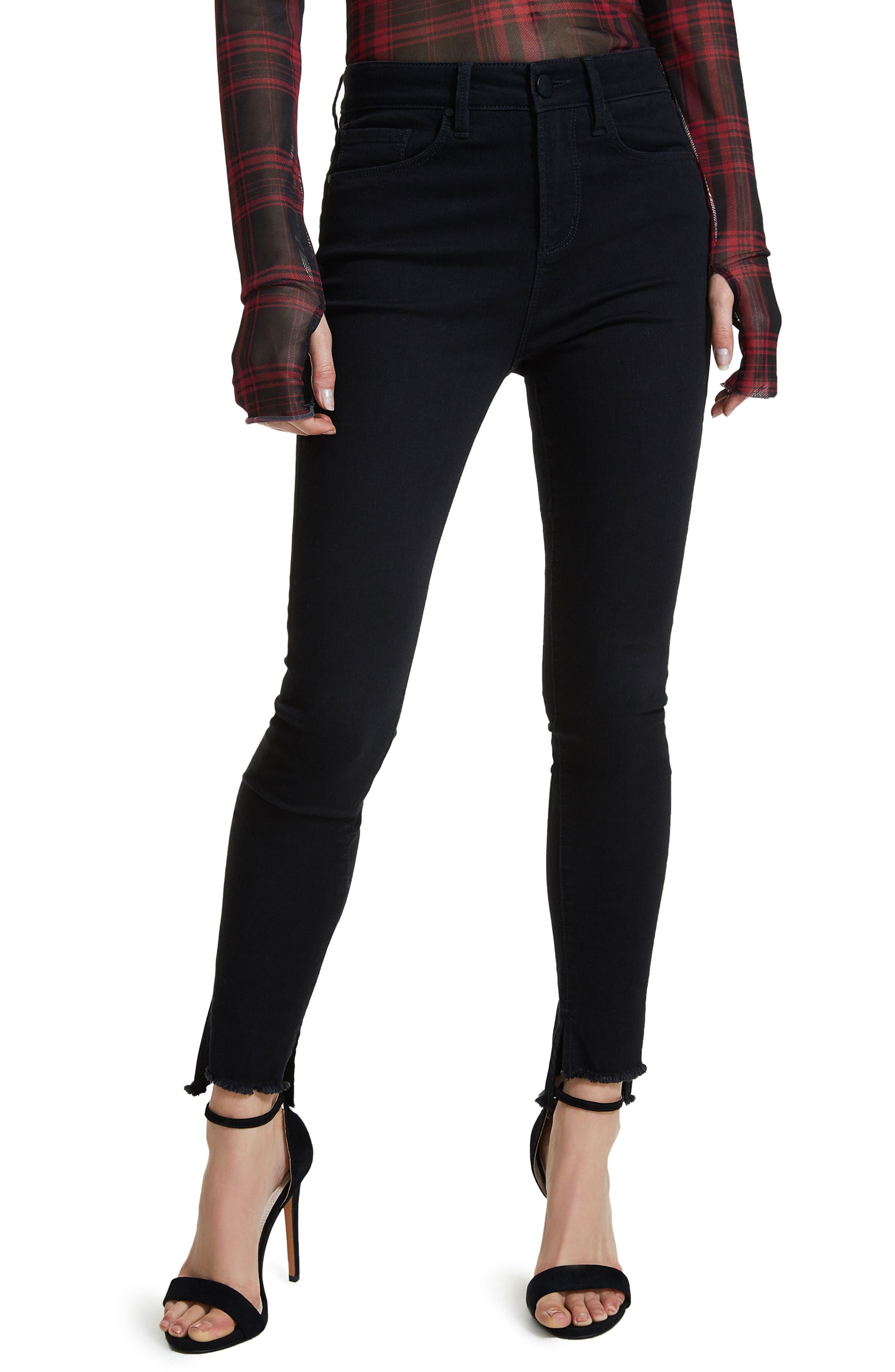 Jayden Stagger Hem Skinny Jeans,                             Main thumbnail 1, color,                             001