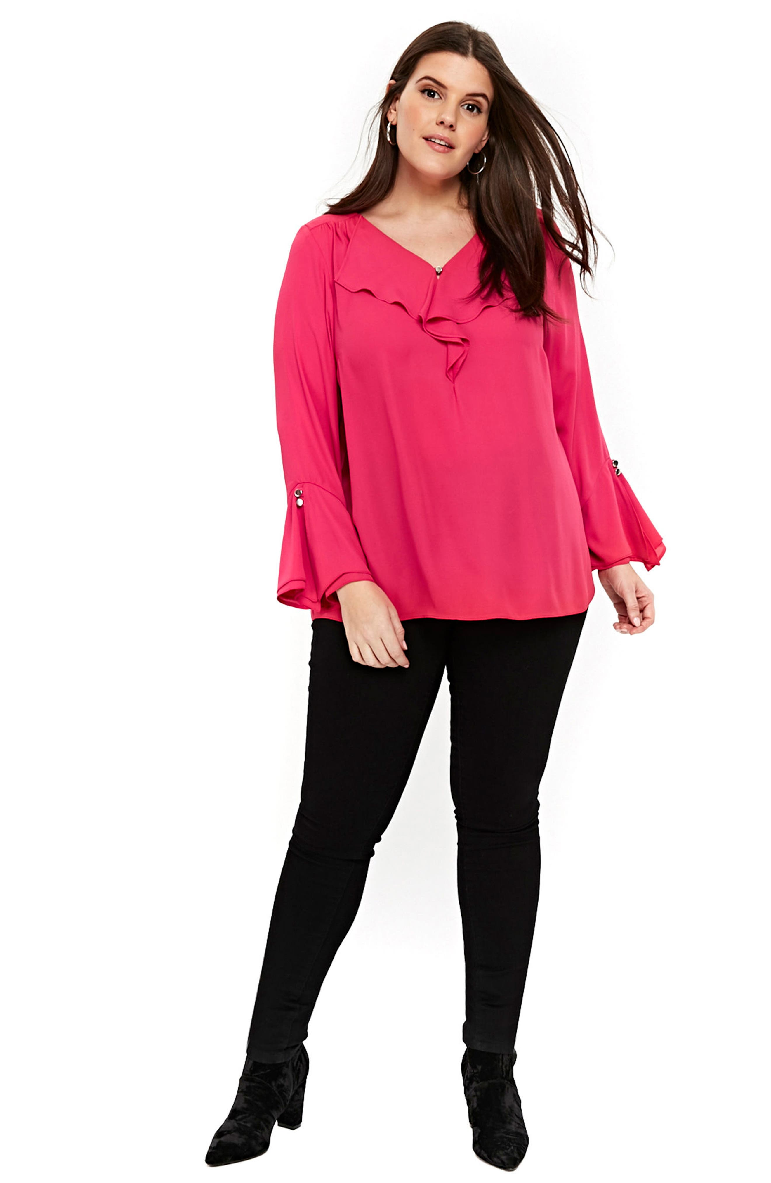 Ruffle Neck Bell Sleeve Top,                             Alternate thumbnail 4, color,