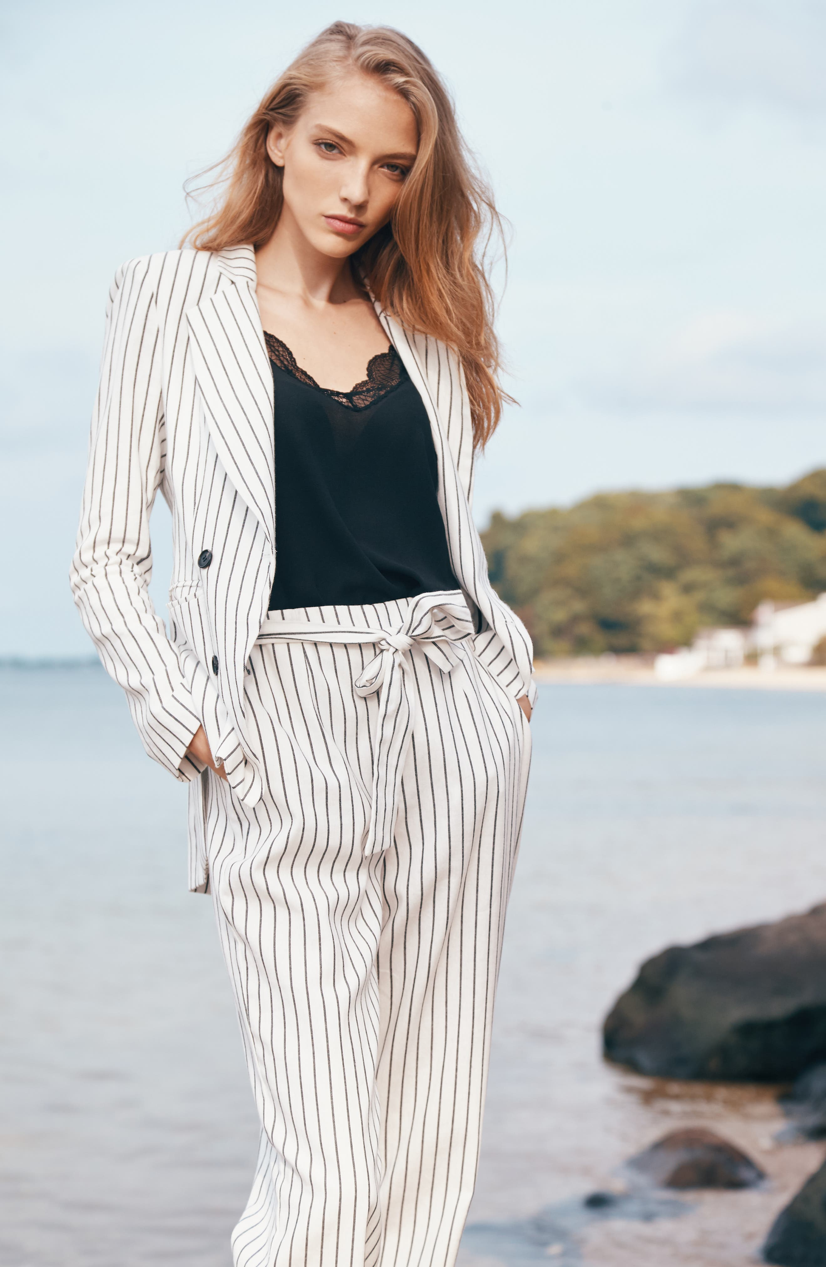 Double Breasted Stripe Cotton Blazer,                             Alternate thumbnail 4, color,                             SOFT ECRU