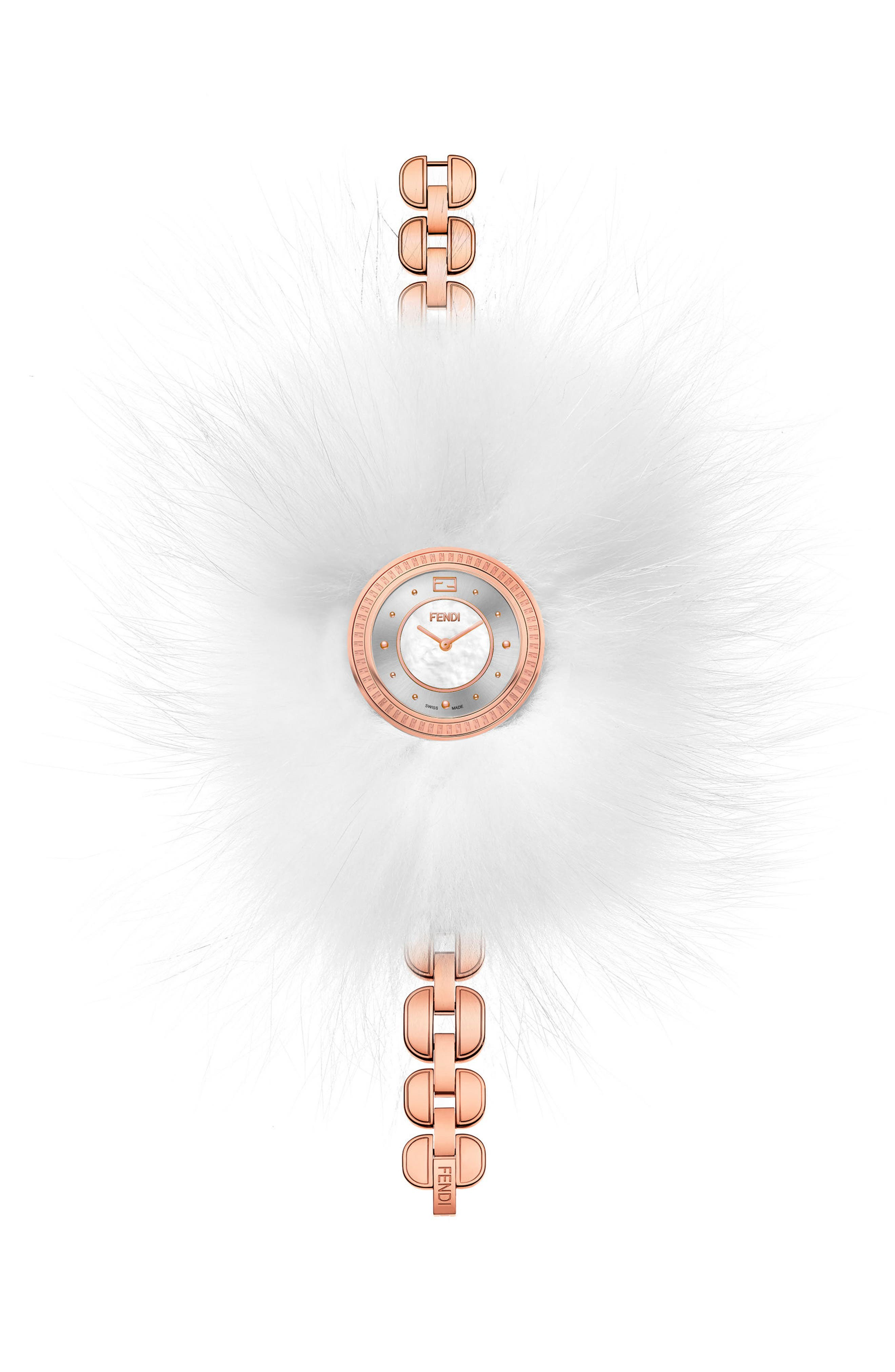 My Way Genuine Fox Fur Glamy Bracelet Watch, 36mm,                         Main,                         color, ROSE GOLD/ MOP/ ROSE GOLD