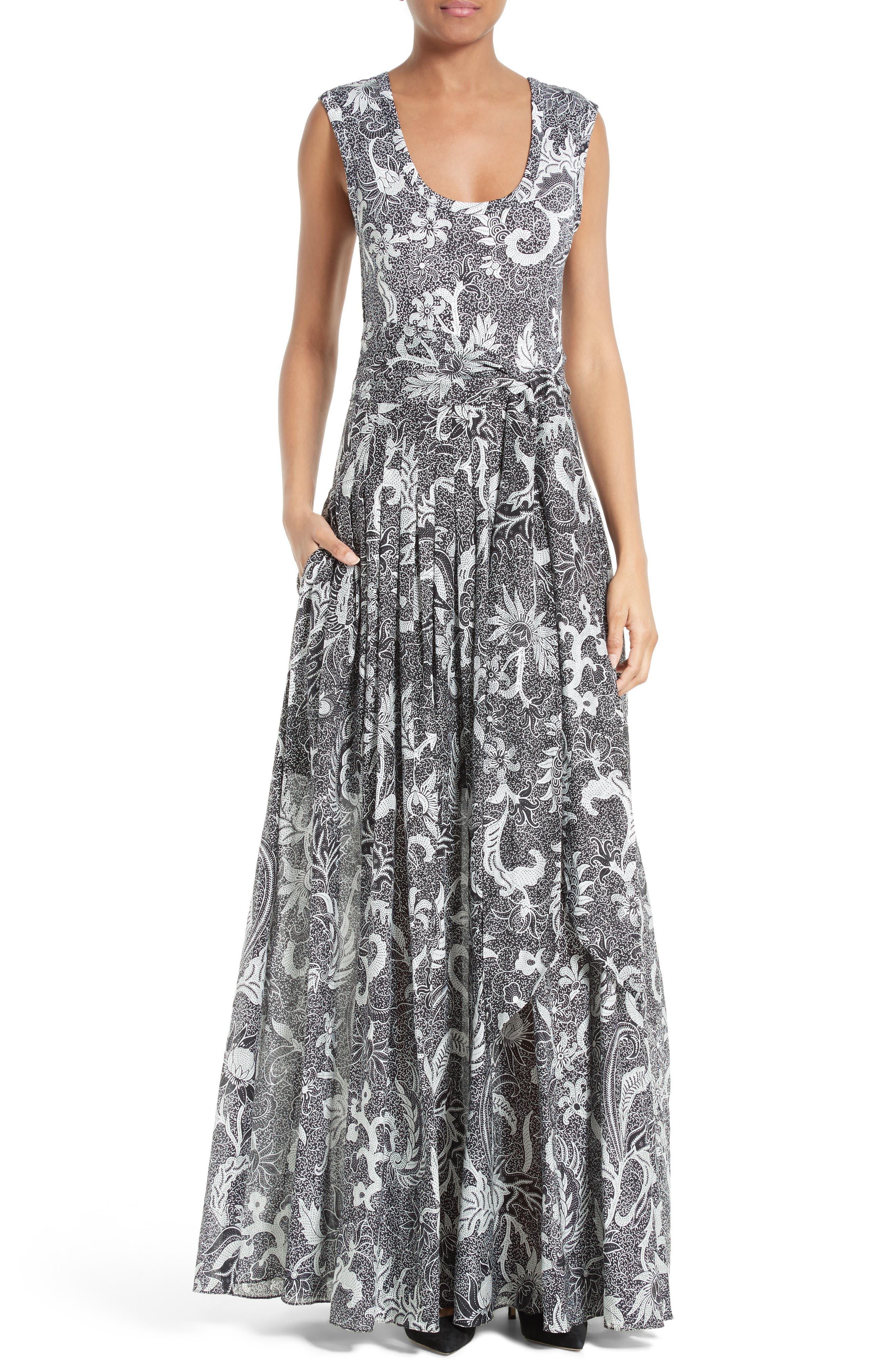 Cotton & Silk Maxi Dress,                             Main thumbnail 1, color,