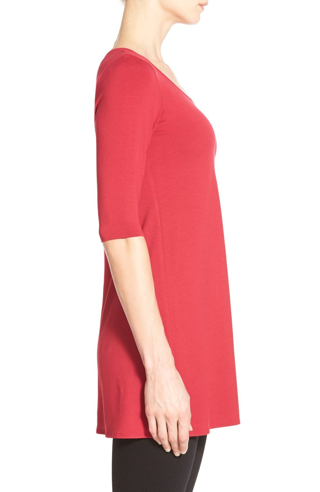 Scoop Neck Elbow Sleeve Jersey Tunic,                             Alternate thumbnail 48, color,