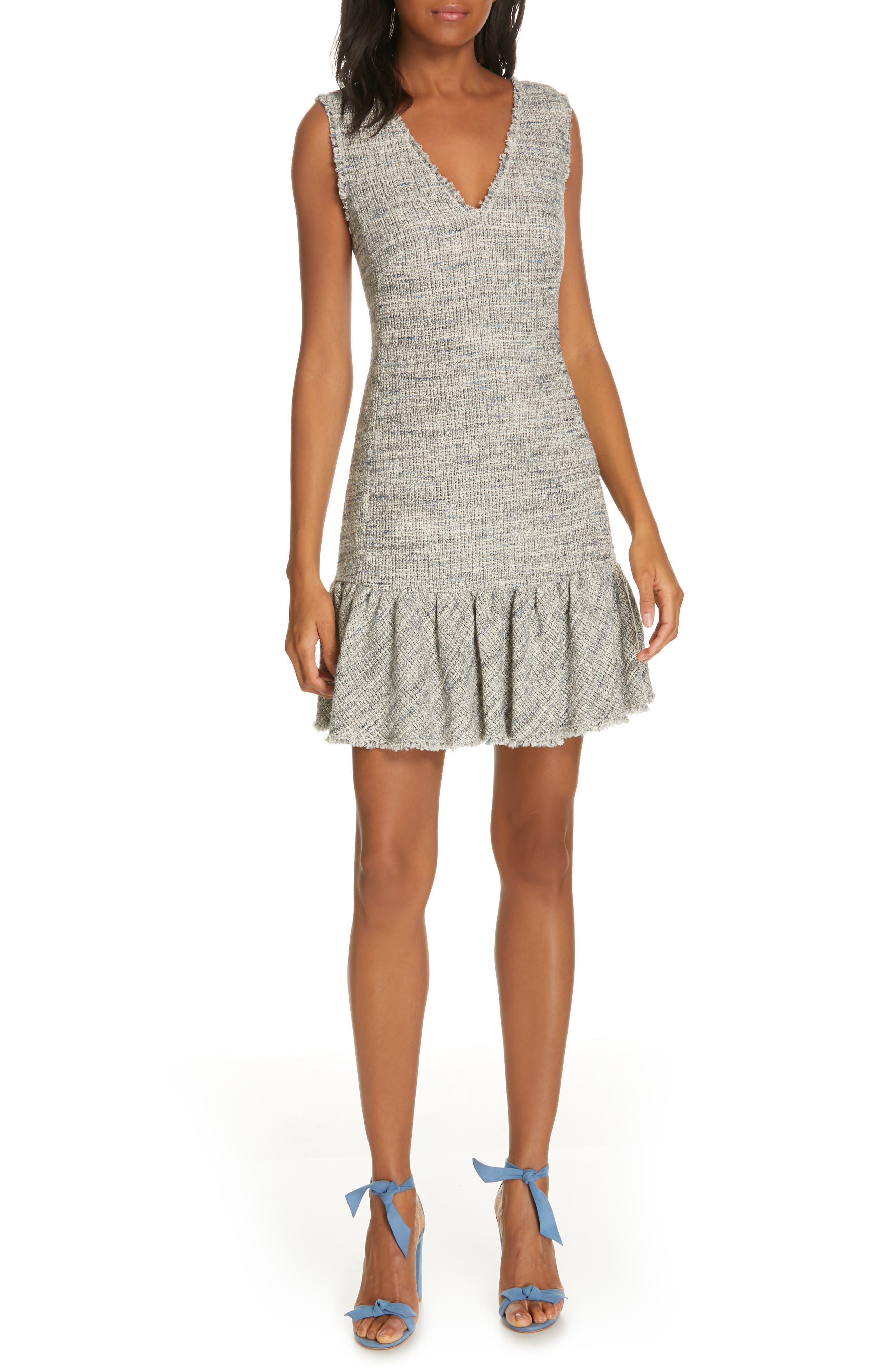 Rebecca Taylor Sleeveless Tweed Ruffle Hem Sheath Dress, Grey
