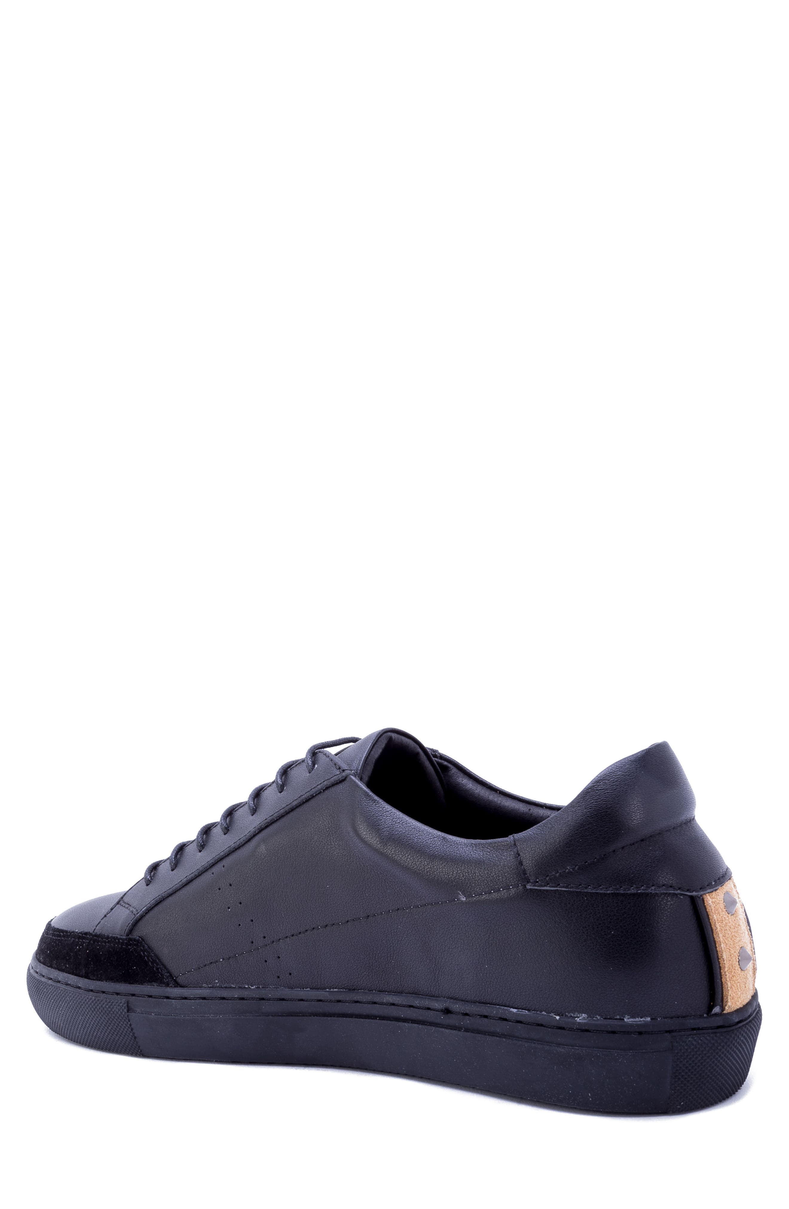 Badgley Mischka Connery Sneaker,                             Alternate thumbnail 2, color,                             BLACK LEATHER