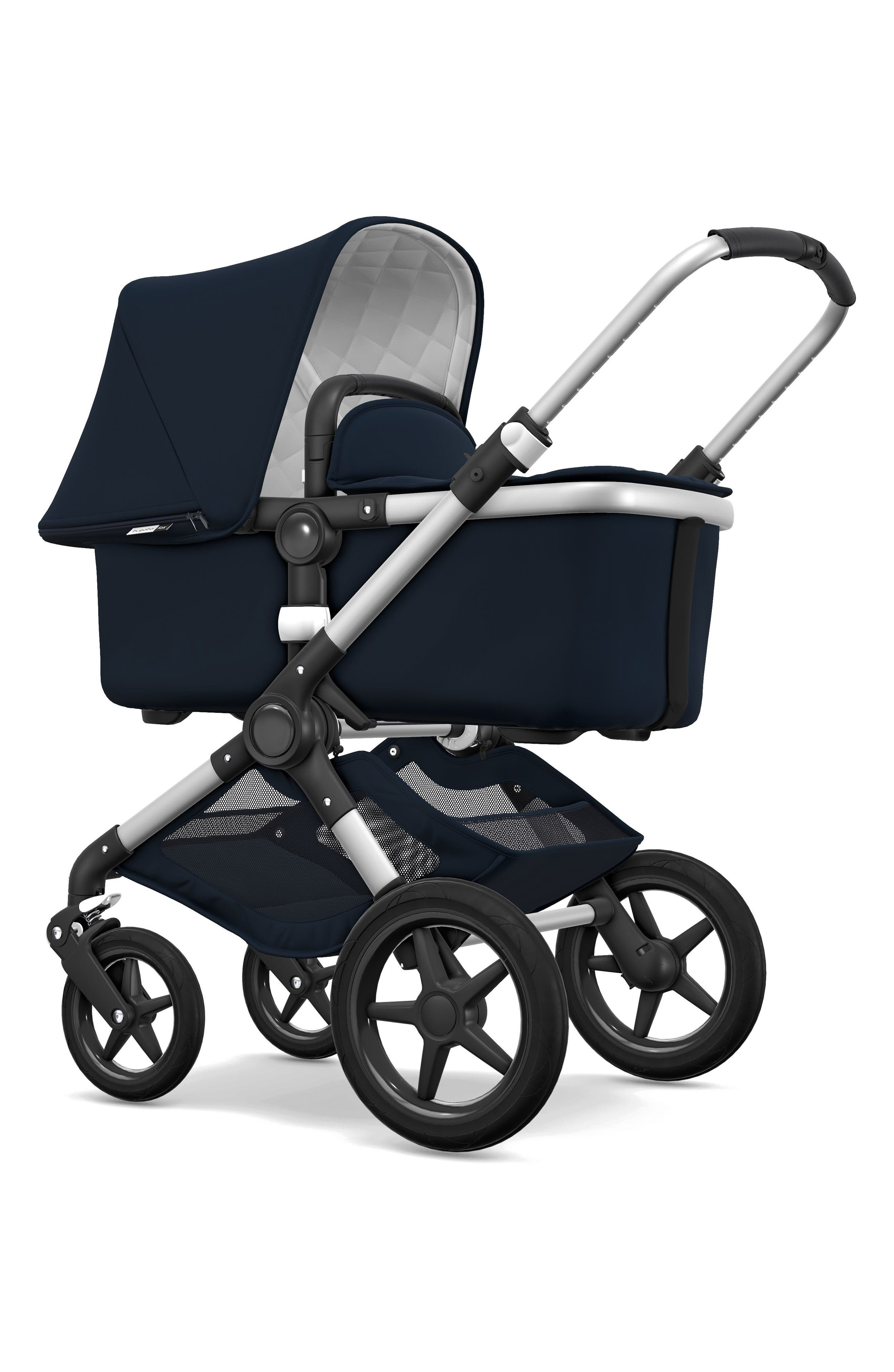 BUGABOO,                             Fox Classic Complete Stroller with Bassinet,                             Alternate thumbnail 3, color,                             NAVY/ ALUMINUM