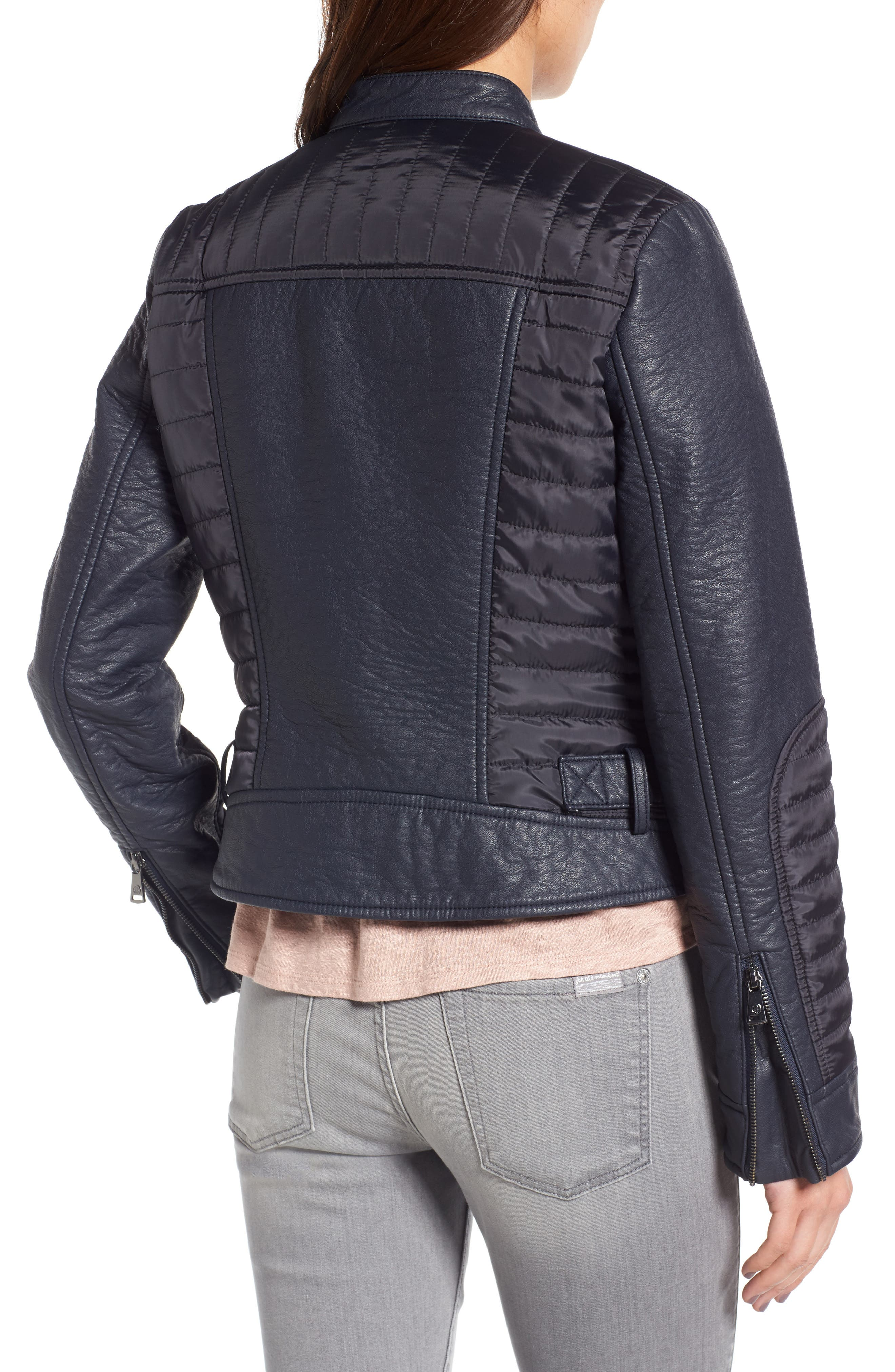 Mixed Media Faux Leather Jacket,                             Alternate thumbnail 2, color,                             412