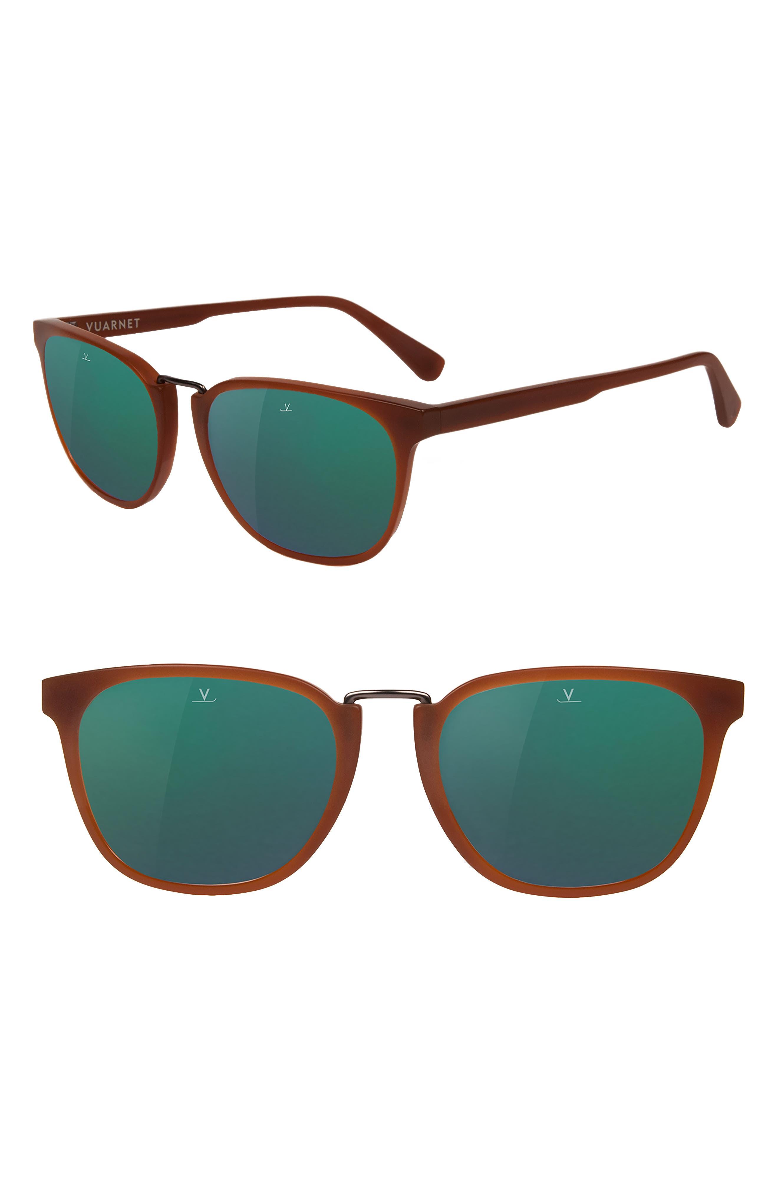 Cable Car 54mm Sunglasses,                         Main,                         color, COGNAC / GREY GREEN FLASH