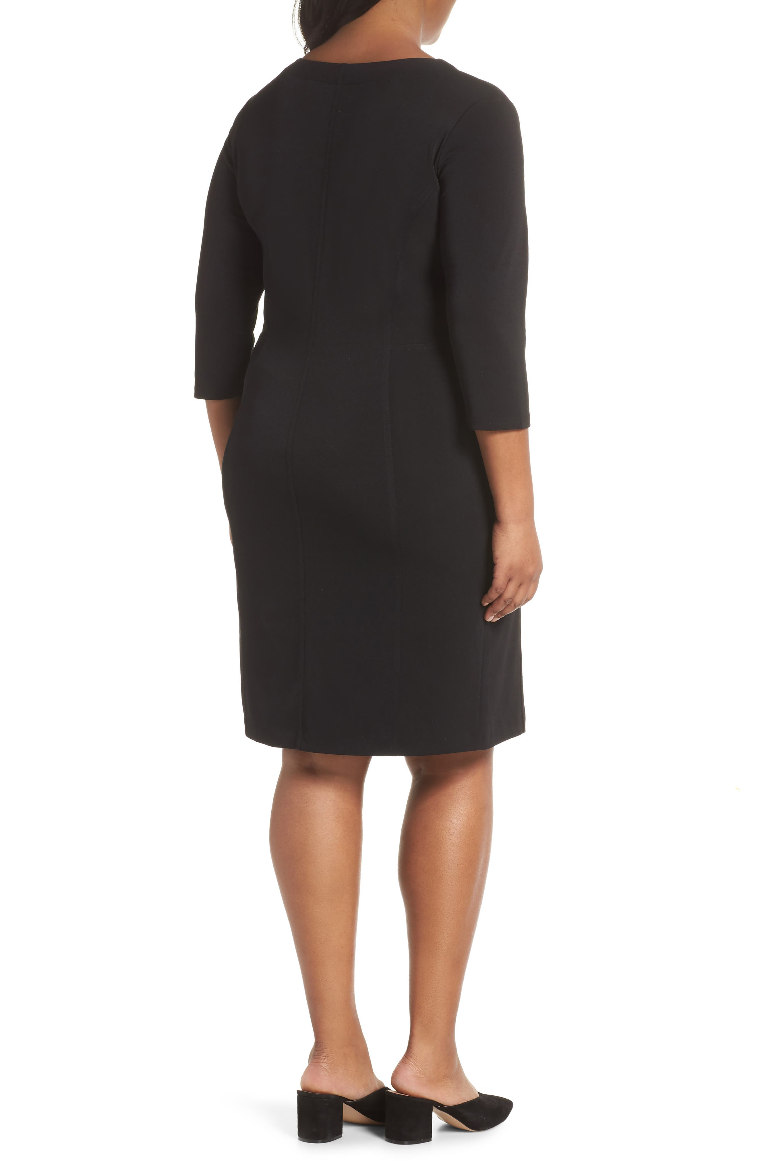 Seamed Crepe Dress,                             Alternate thumbnail 2, color,                             BLACK