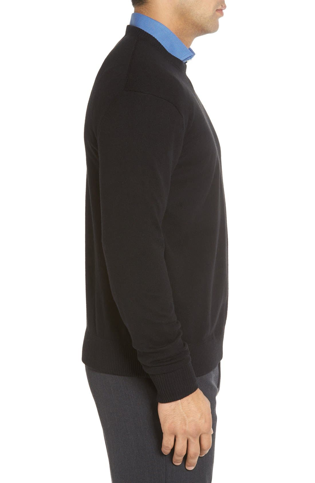 'Jersey Sport' Cotton Blend Crewneck Sweater,                             Alternate thumbnail 3, color,                             001