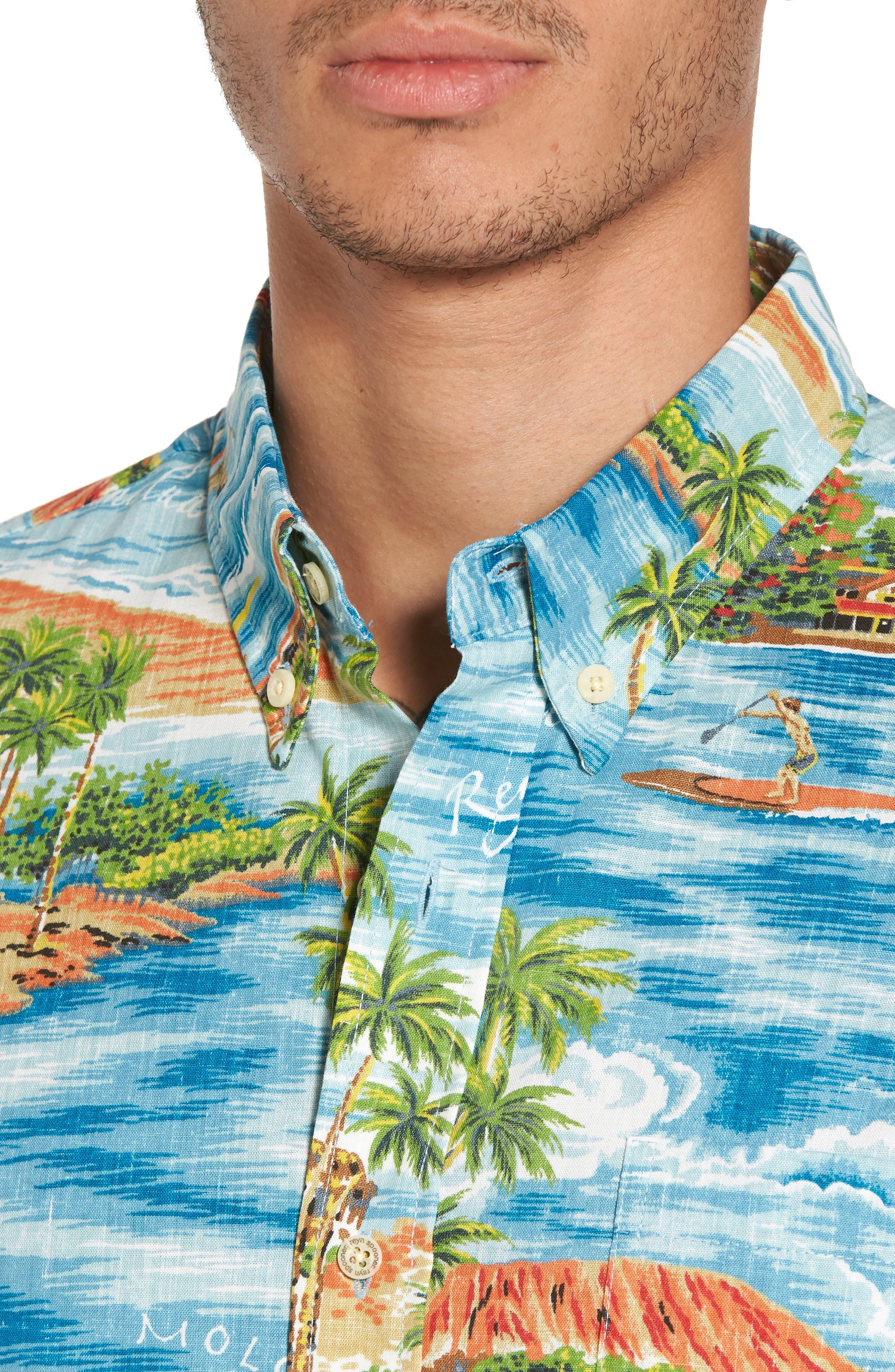 Downward Paddler Tailored Fit Sport Shirt,                             Alternate thumbnail 4, color,                             470