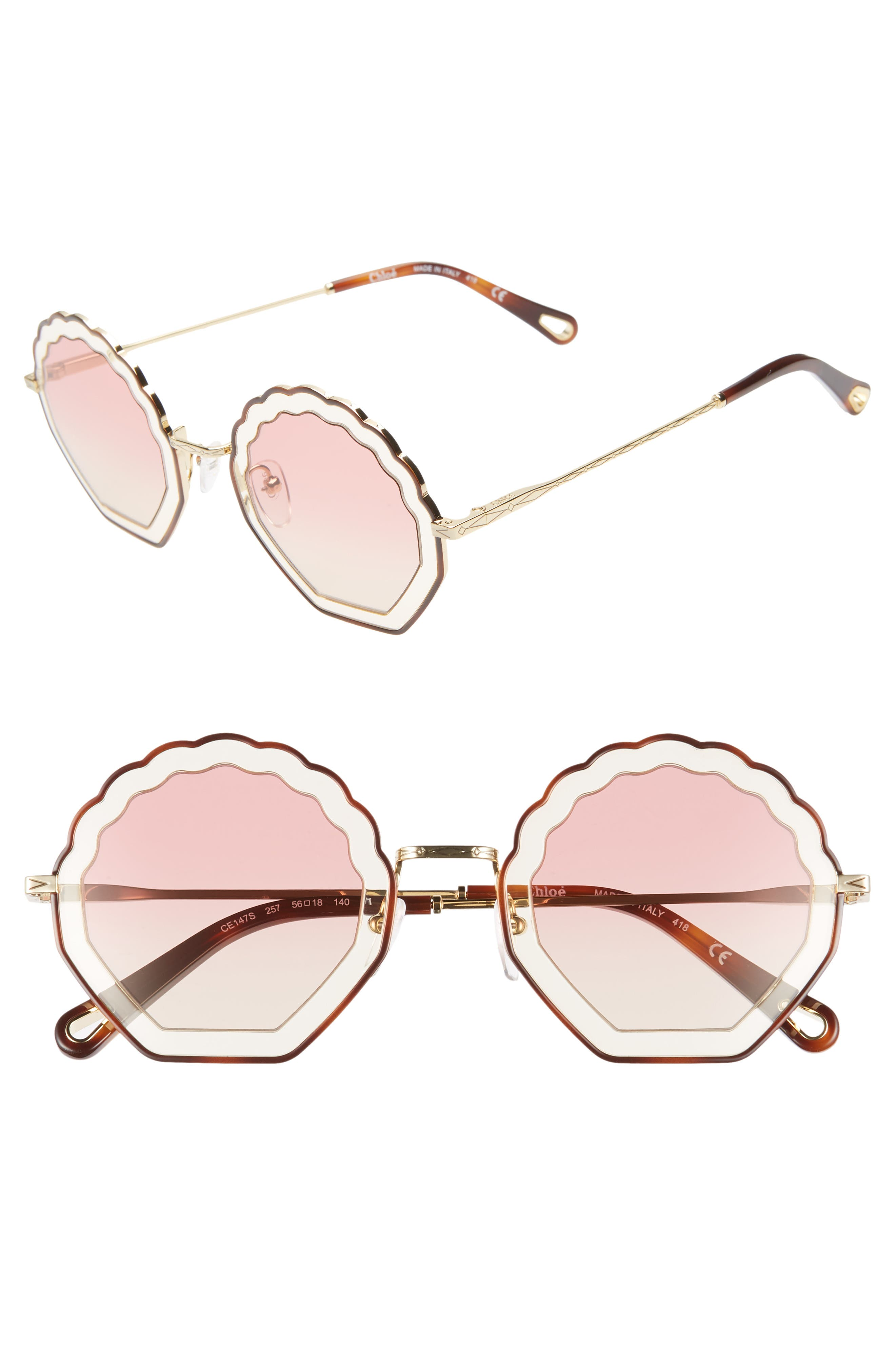 Tally 56mm Scalloped Sunglasses,                             Main thumbnail 1, color,                             HAVANA/ SAND/ GRADIENT ROSE