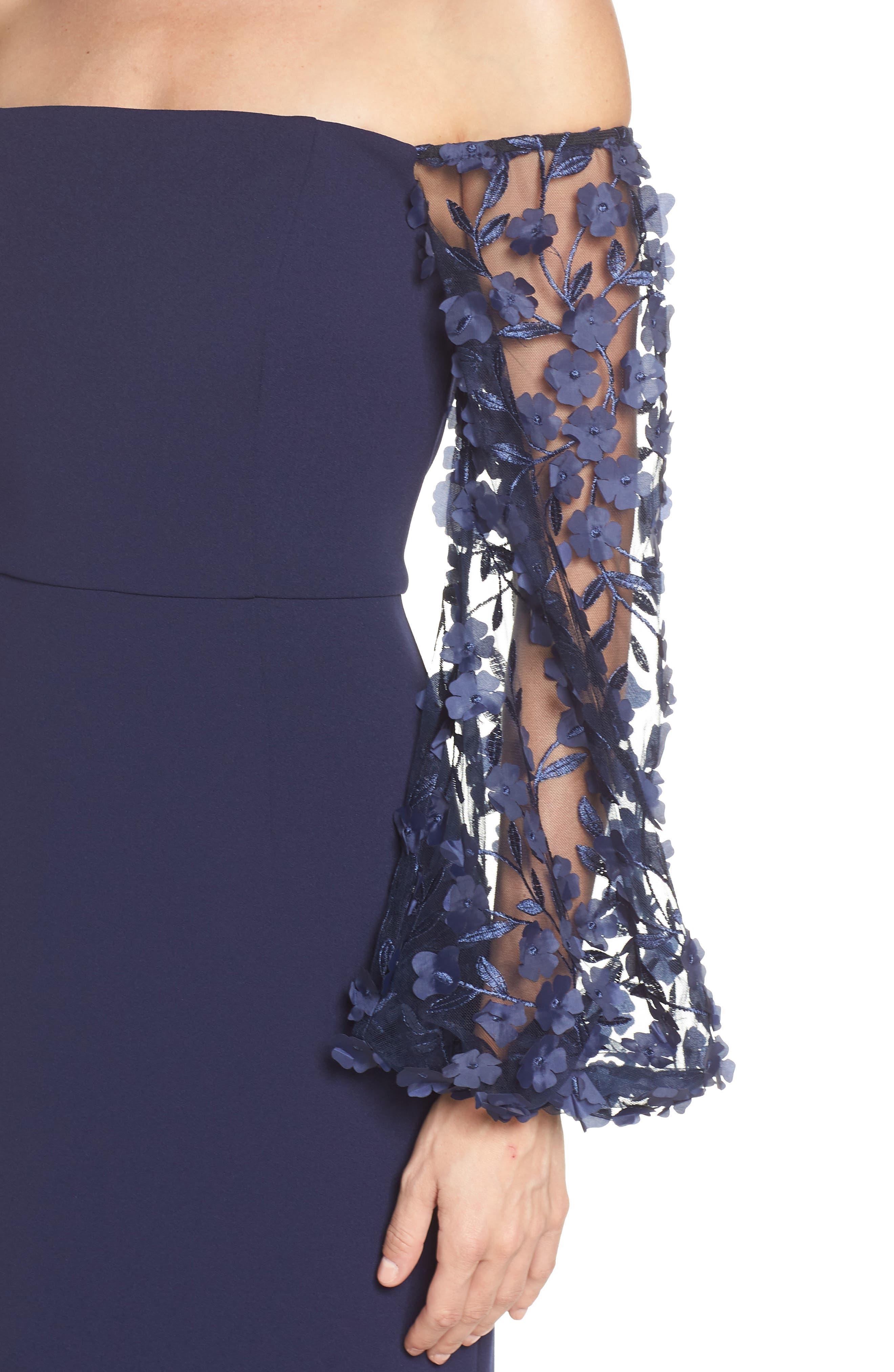 ELIZA J,                             Off the Shoulder 3D Floral Sleeve Scuba Crepe Evening Dress,                             Alternate thumbnail 4, color,                             NAVY