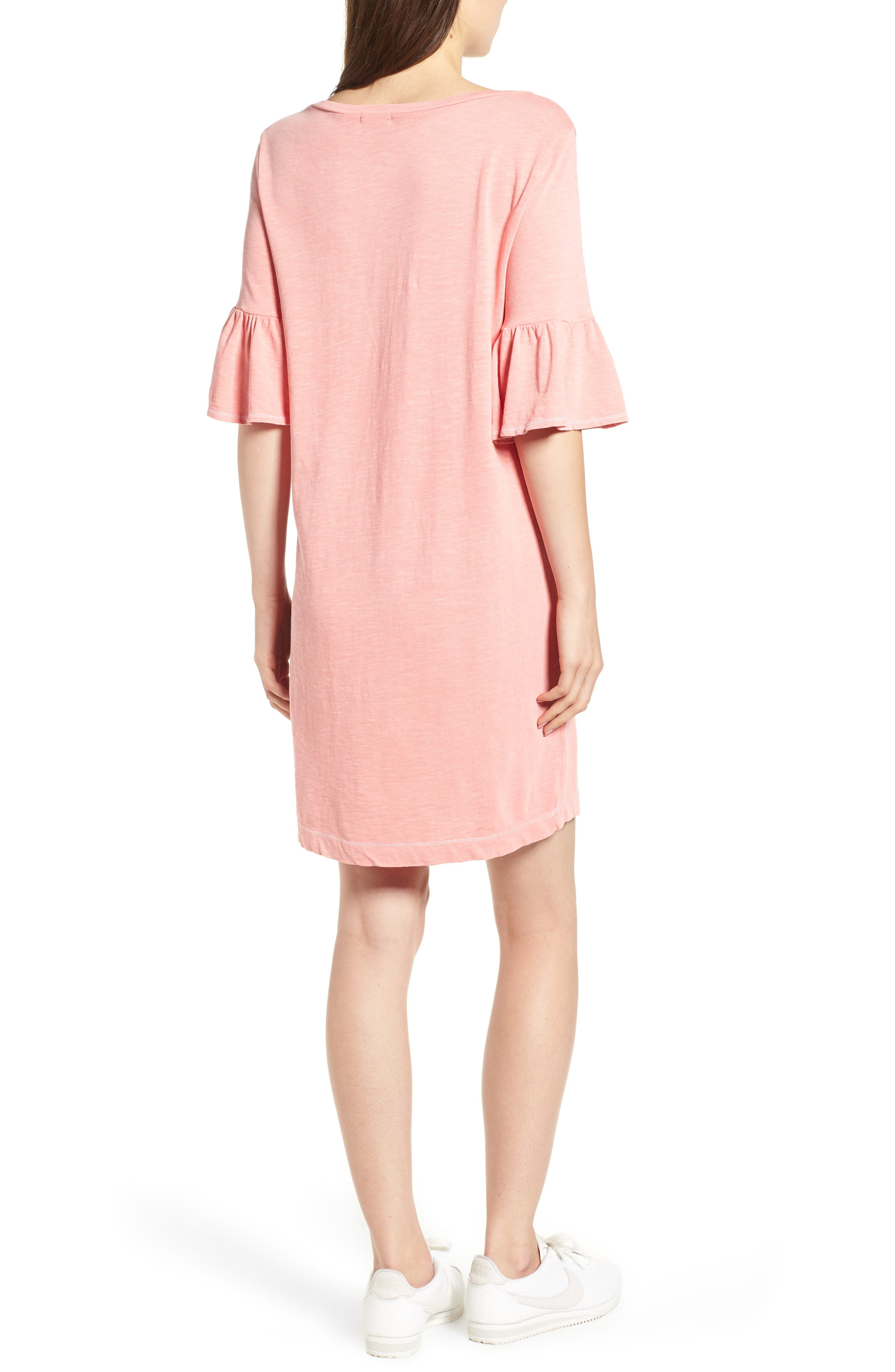 Ruffle Sleeve Shift Dress,                             Alternate thumbnail 2, color,                             CACTUS FLOWER